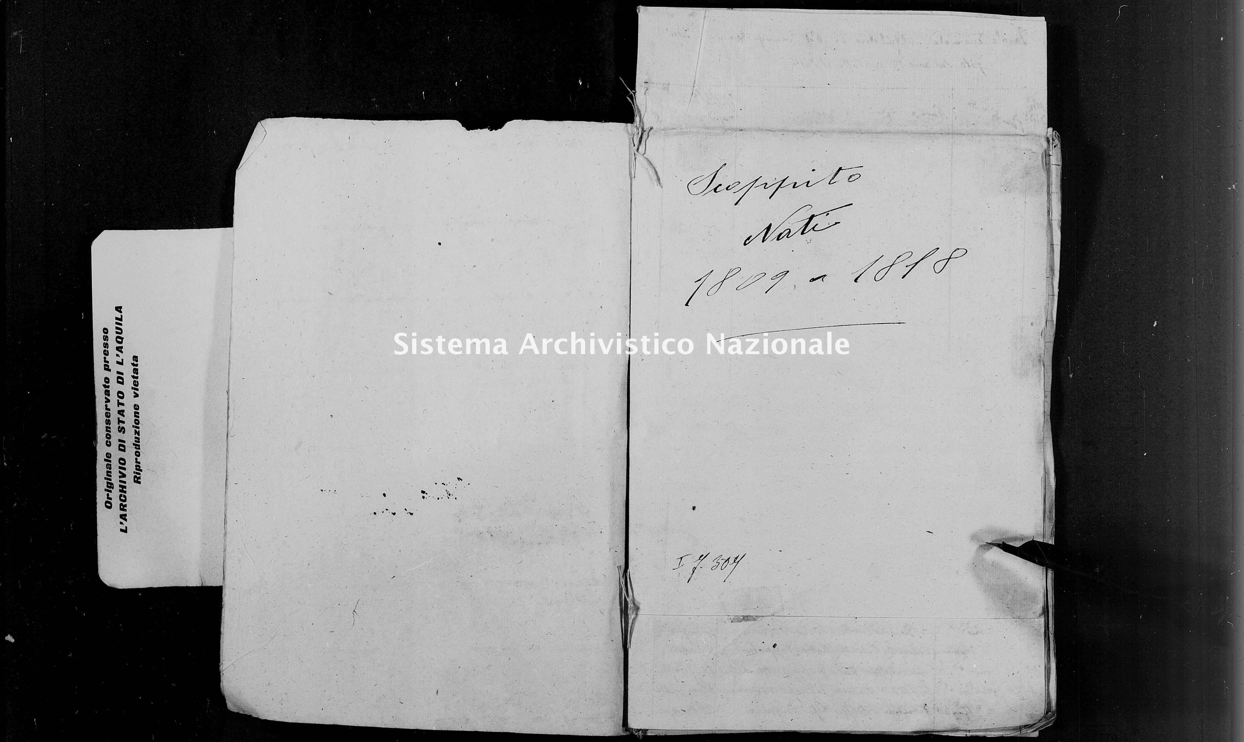 Archivio di stato di L'aquila - Stato civile napoleonico - Scoppito - Nati, indici decennali - 1809-1818 - 3779 -
