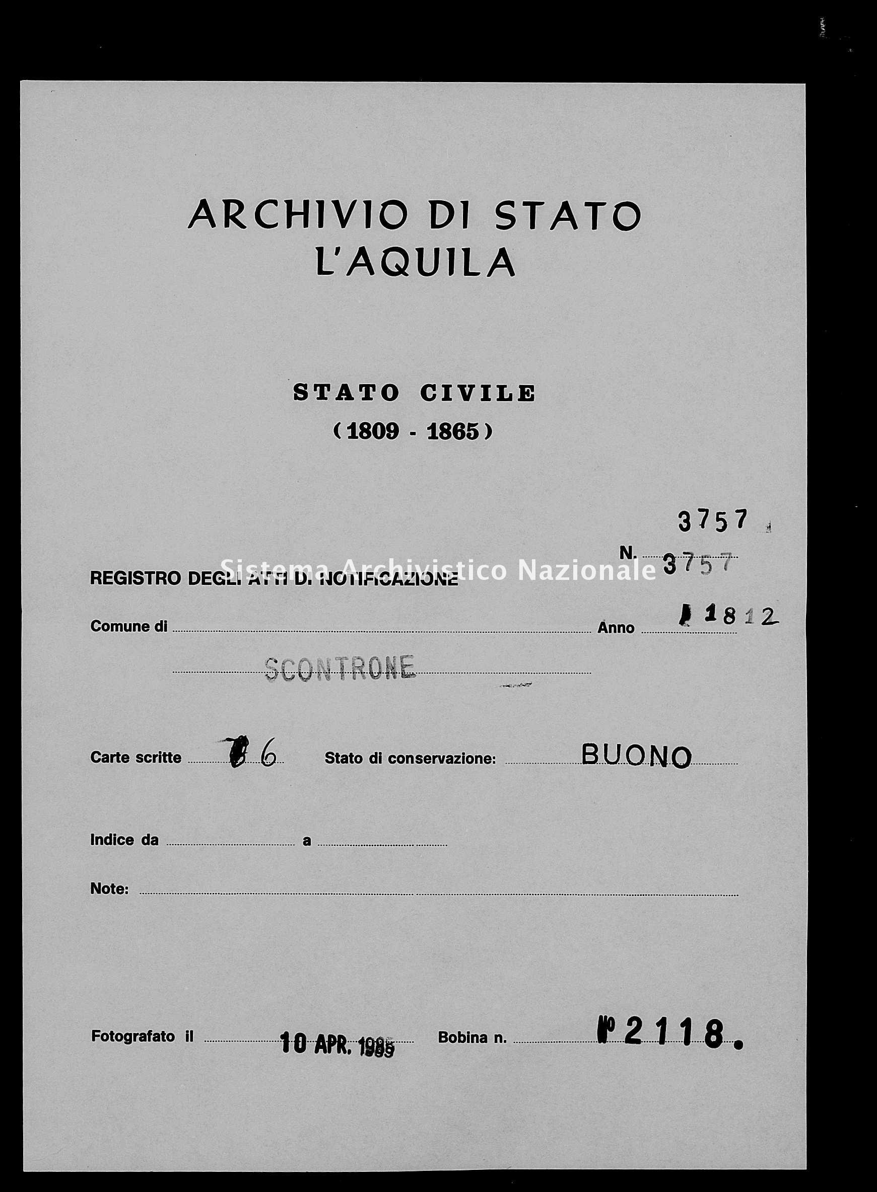 Archivio di stato di L'aquila - Stato civile napoleonico - Scontrone - Matrimoni, pubblicazioni - 1812 - 3757 -