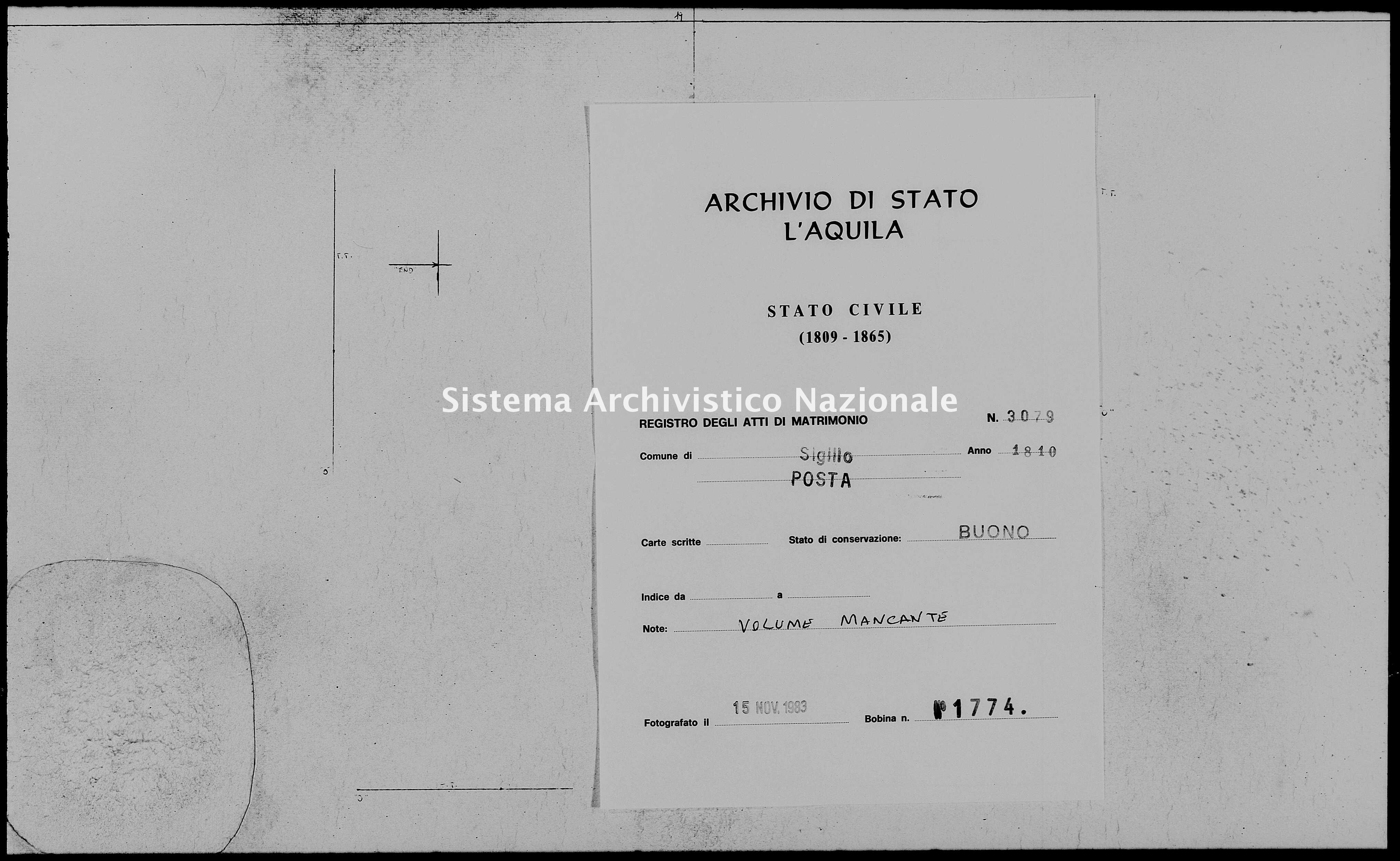 Archivio di stato di L'aquila - Stato civile napoleonico - Sigillo - Matrimoni - 1810 - 3079 -