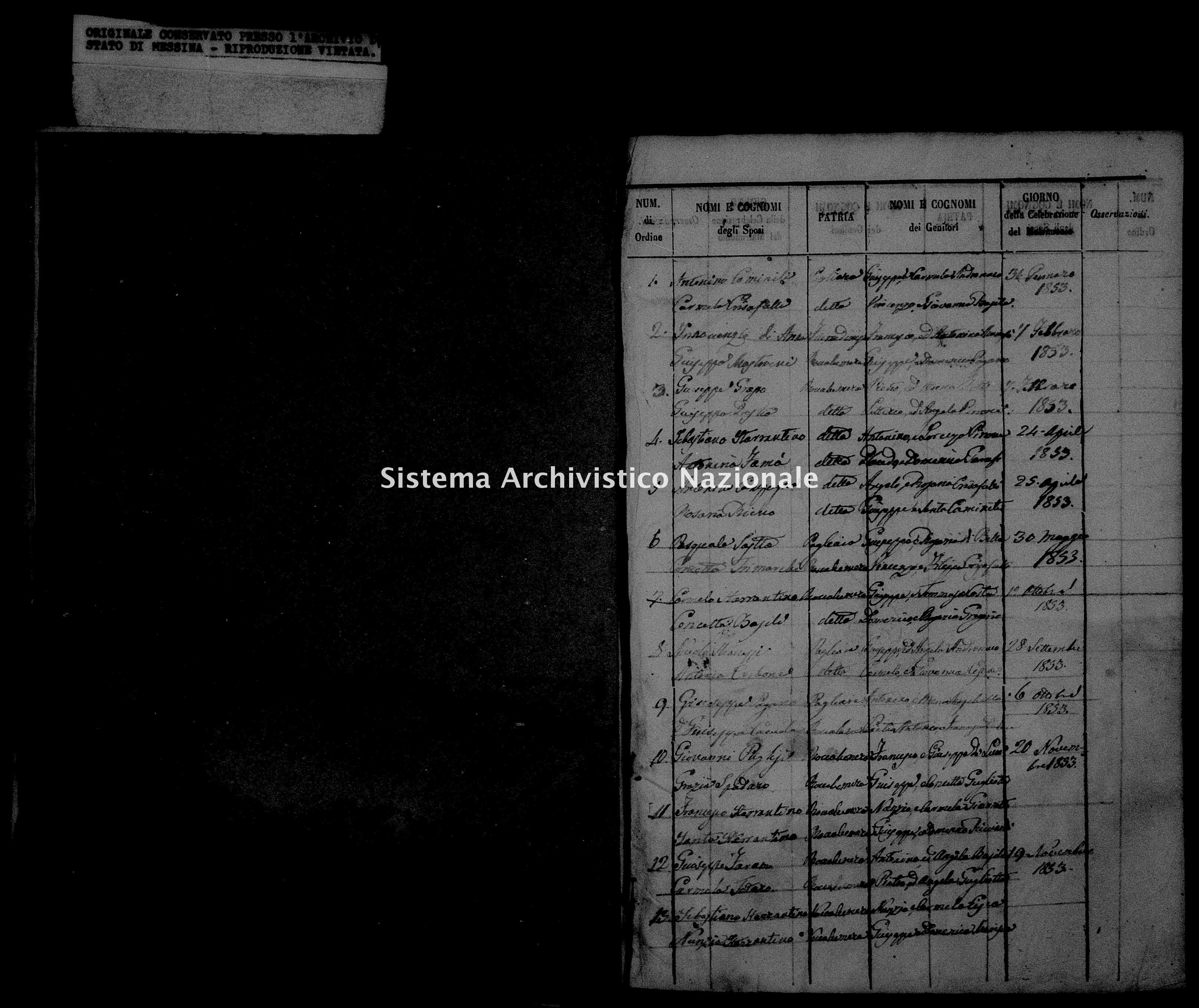 Archivio di stato di Messina - Stato civile della restaurazione - Roccalumera - Matrimoni, indice - 1853 - 1109 -