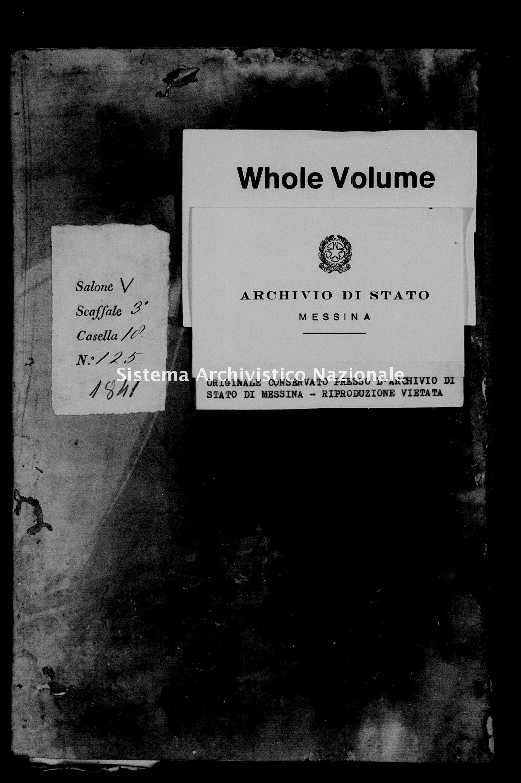 Archivio di stato di Messina - Stato civile della restaurazione - Alcara li Fusi - Matrimoni - 1841 -