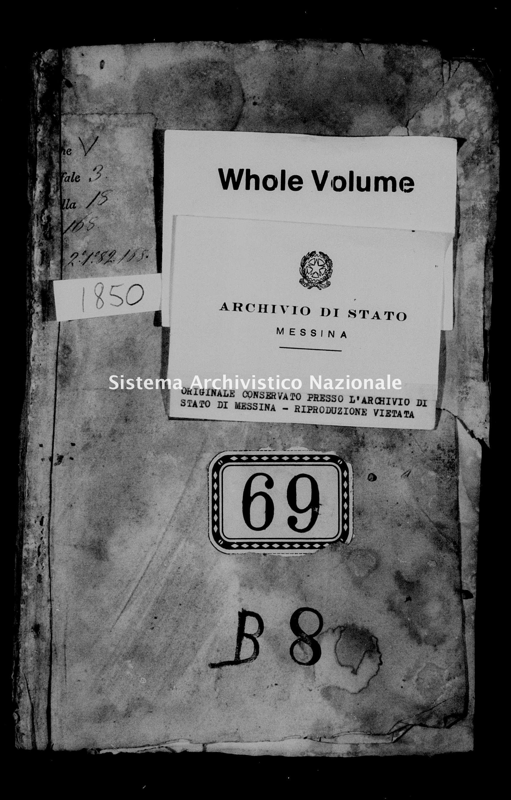 Archivio di stato di Messina - Stato civile della restaurazione - Alcara li Fusi - Matrimoni - 1850 -
