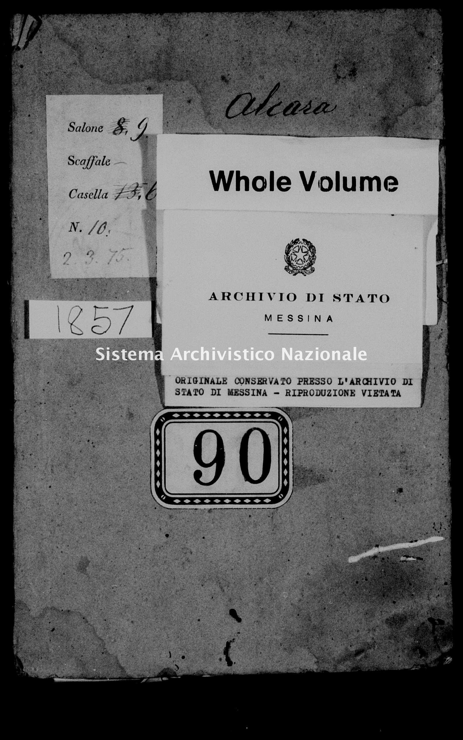 Archivio di stato di Messina - Stato civile della restaurazione - Alcara li Fusi - Matrimoni - 1857 - 90 -