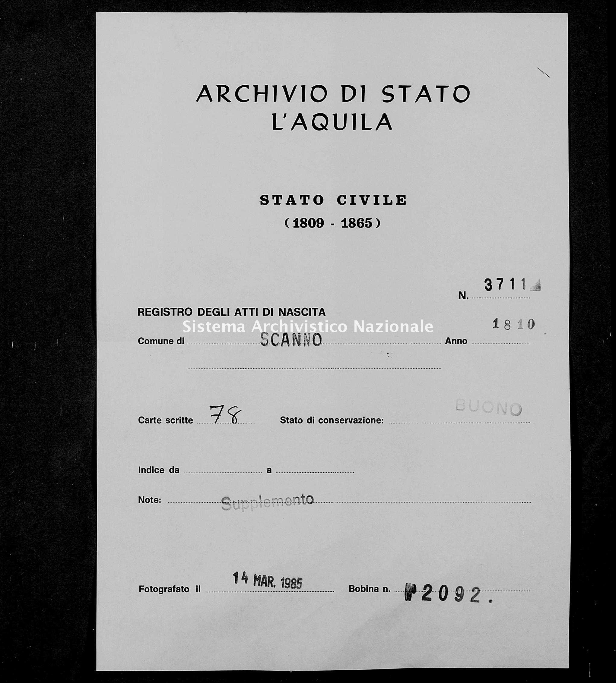Archivio di stato di L'aquila - Stato civile napoleonico - Scanno - Nati, dichiarazioni - 1810 - 3711 -