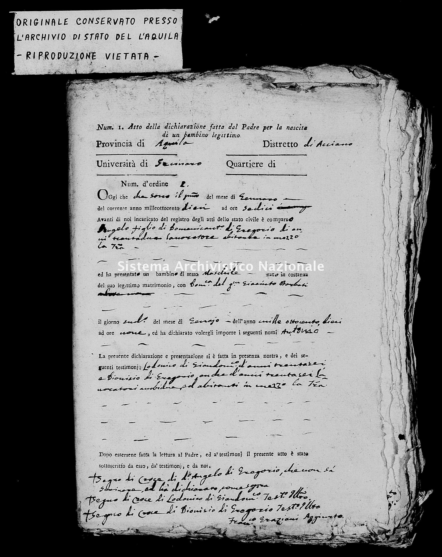 Archivio di stato di L'aquila - Stato civile napoleonico - Secinaro - Nati, dichiarazioni - 1810 -