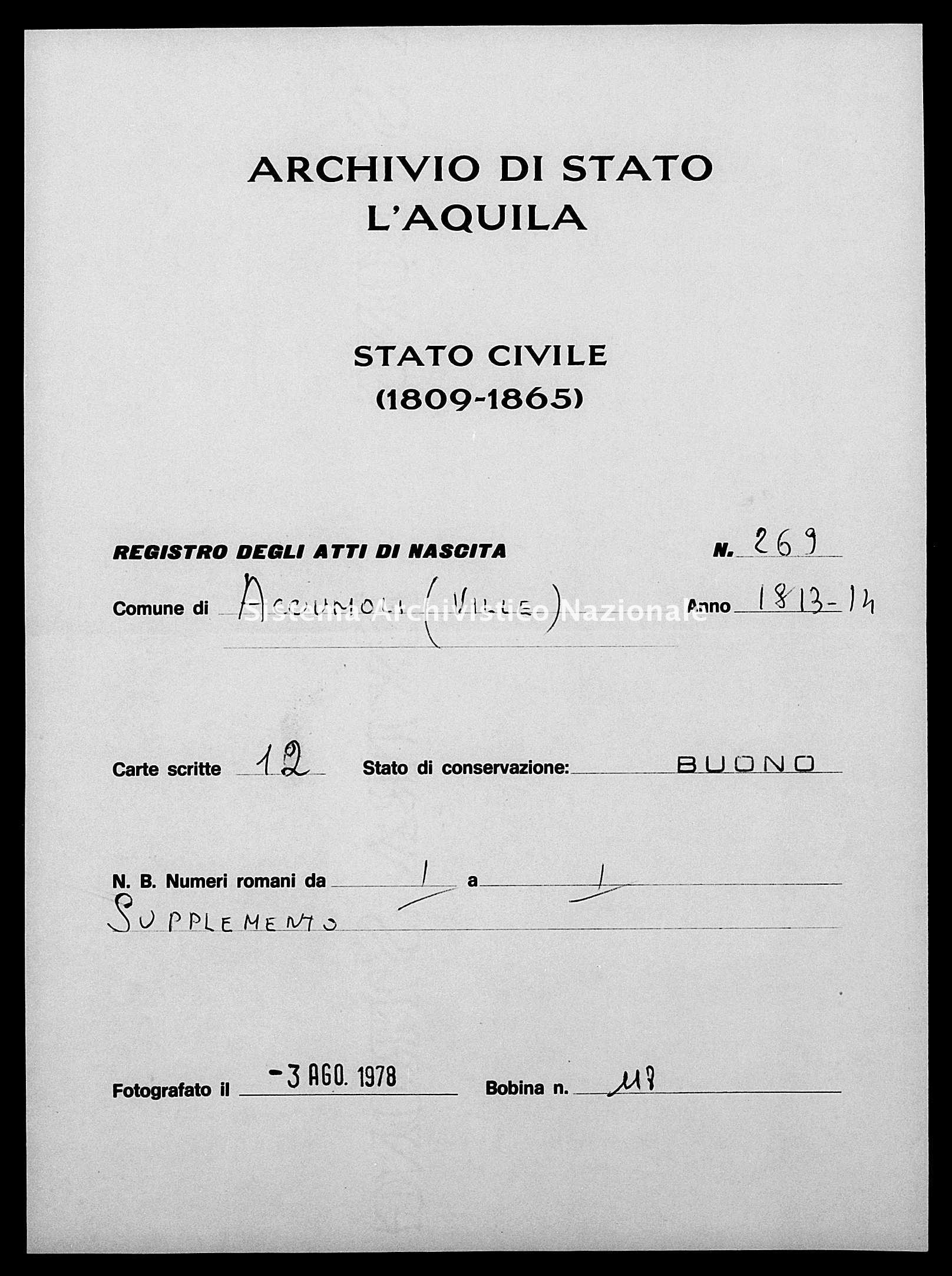 Archivio di stato di L'aquila - Stato civile napoleonico - Accumoli e ville - Nati - 12/02/1813-26/12/1813 - 269 -