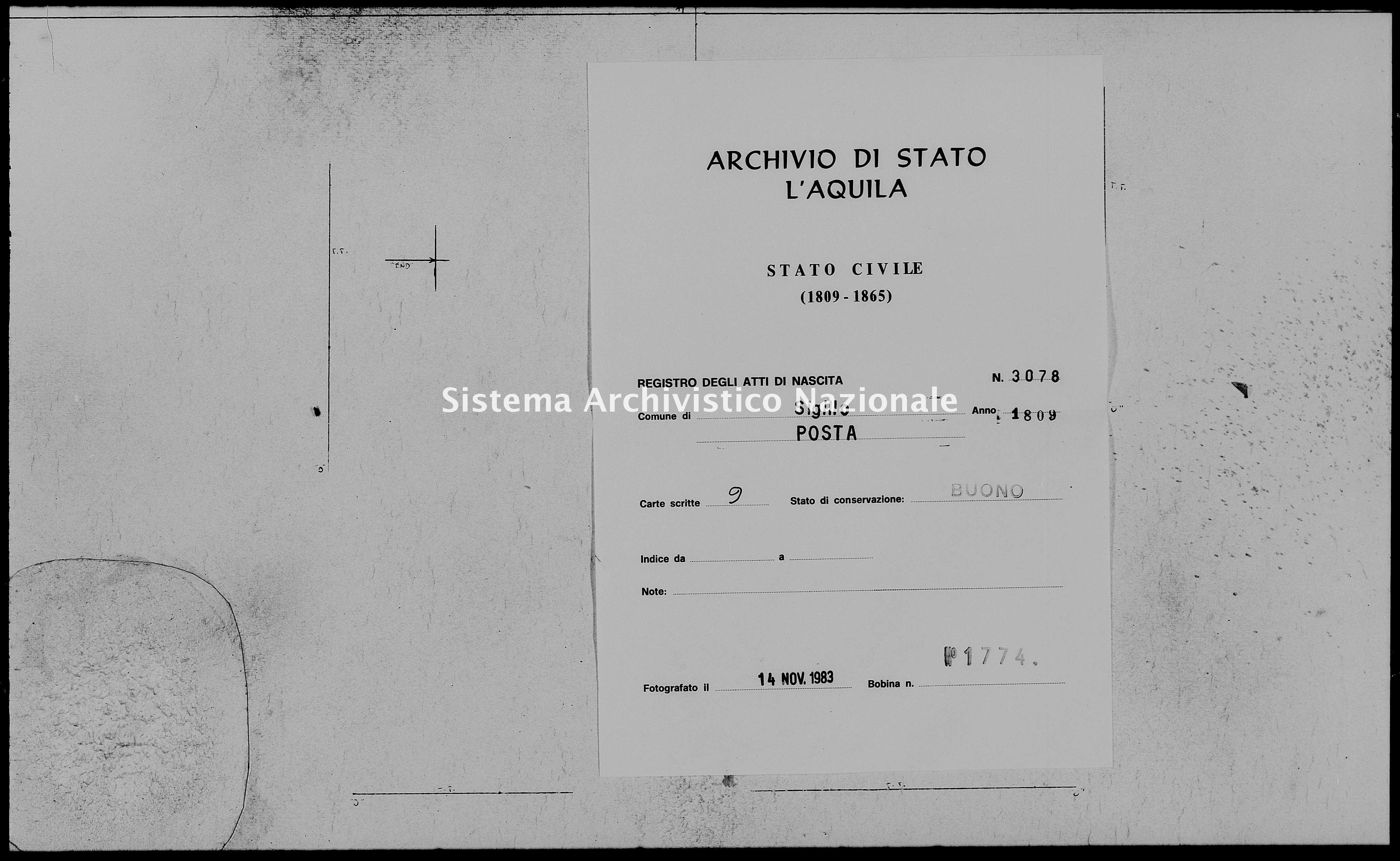 Archivio di stato di L'aquila - Stato civile napoleonico - Sigillo - Nati - 1809 - 3078 -
