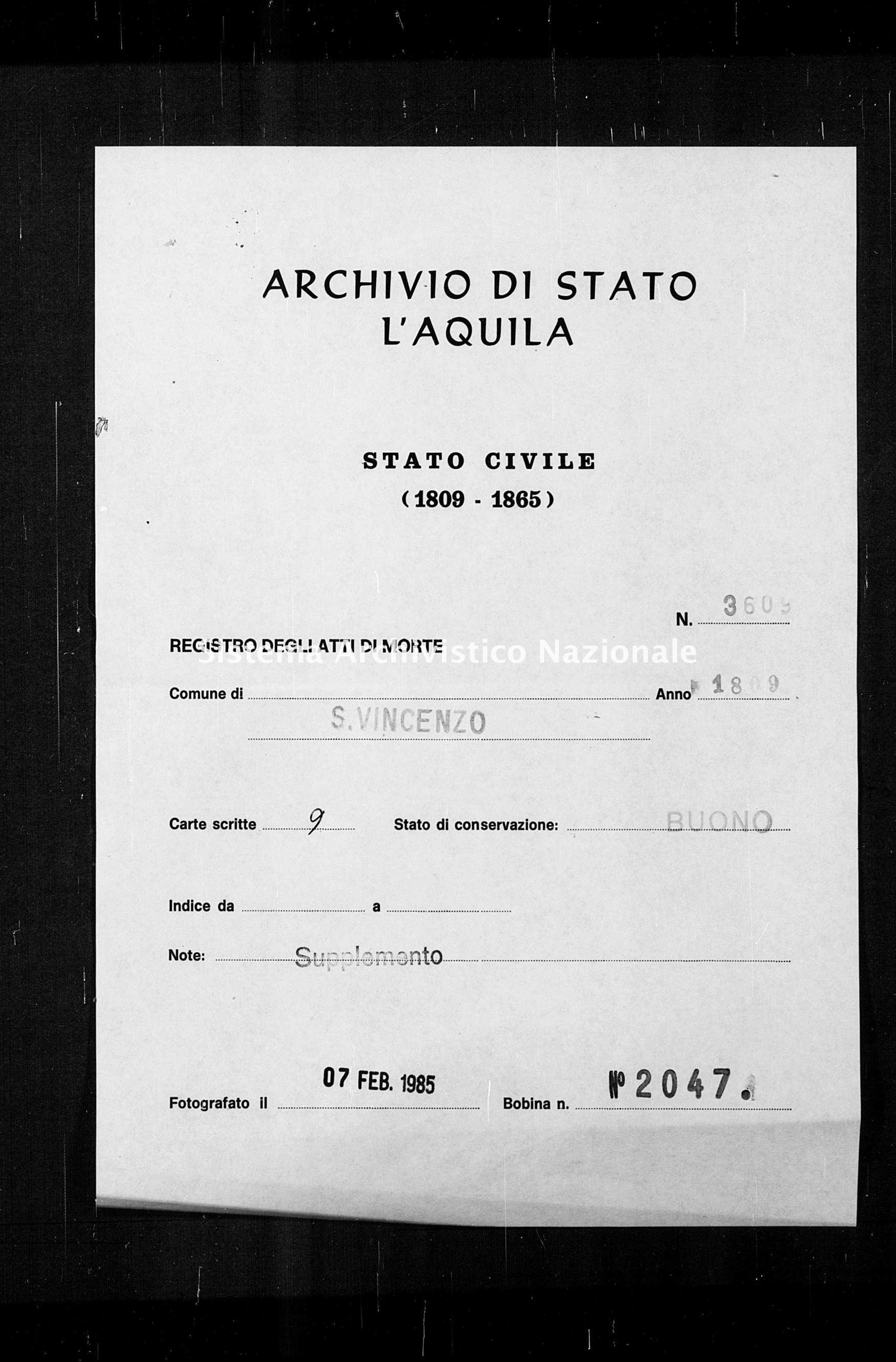 Archivio di stato di L'aquila - Stato civile napoleonico - San Vincenzo Valle Roveto - Morti, dichiarazioni - 1809 - 3609 -