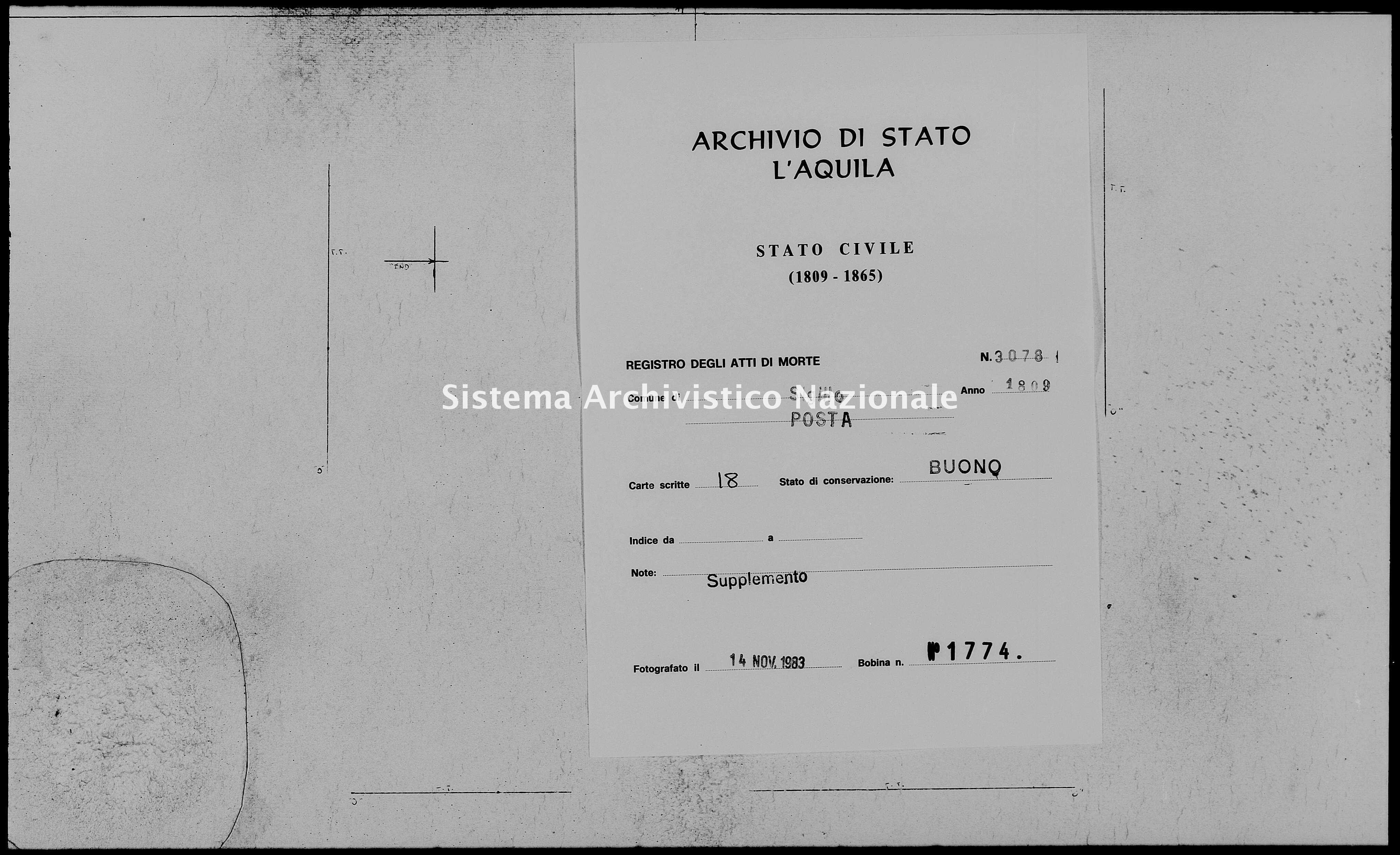 Archivio di stato di L'aquila - Stato civile napoleonico - Sigillo - Morti, dichiarazioni - 1809 - 3078 -