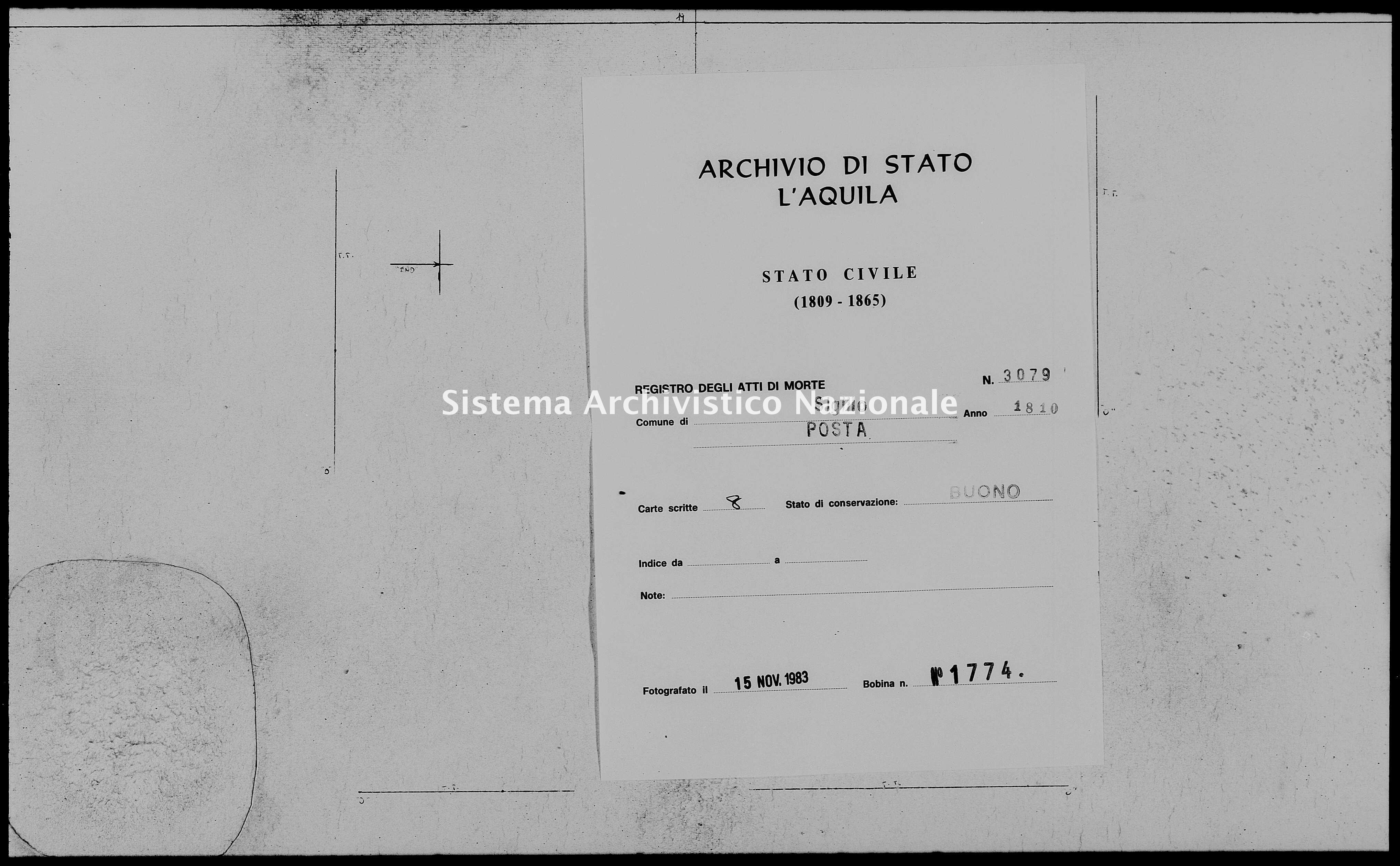 Archivio di stato di L'aquila - Stato civile napoleonico - Sigillo - Morti, dichiarazioni - 1810 - 3079 -