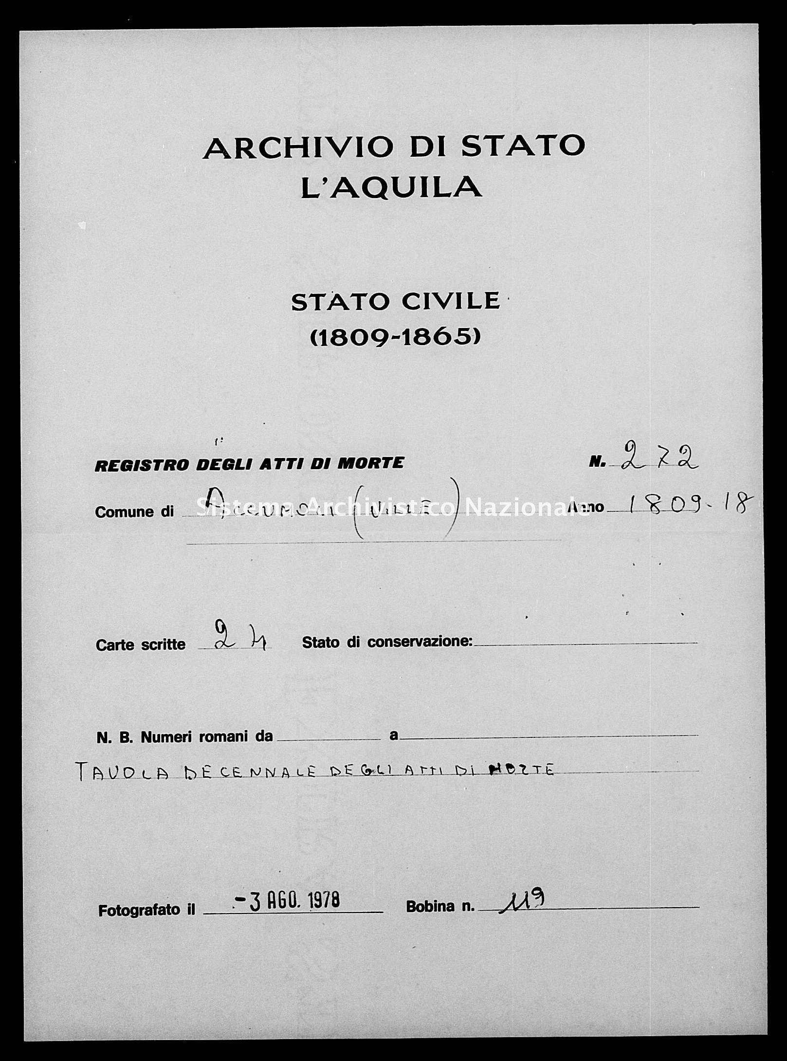 Archivio di stato di L'aquila - Stato civile napoleonico - Accumoli - Morti, indici decennali - 1809-1818 - 272 -