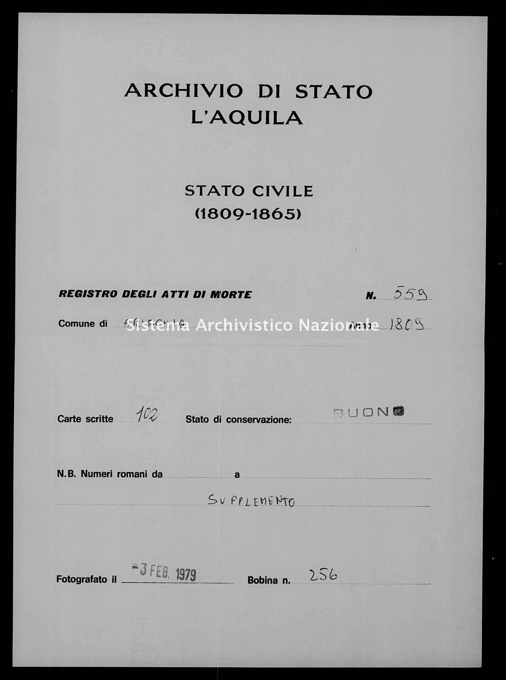 Archivio di stato di L'aquila - Stato civile napoleonico - Arischia - Morti, dichiarazioni - 1809 - 559 -