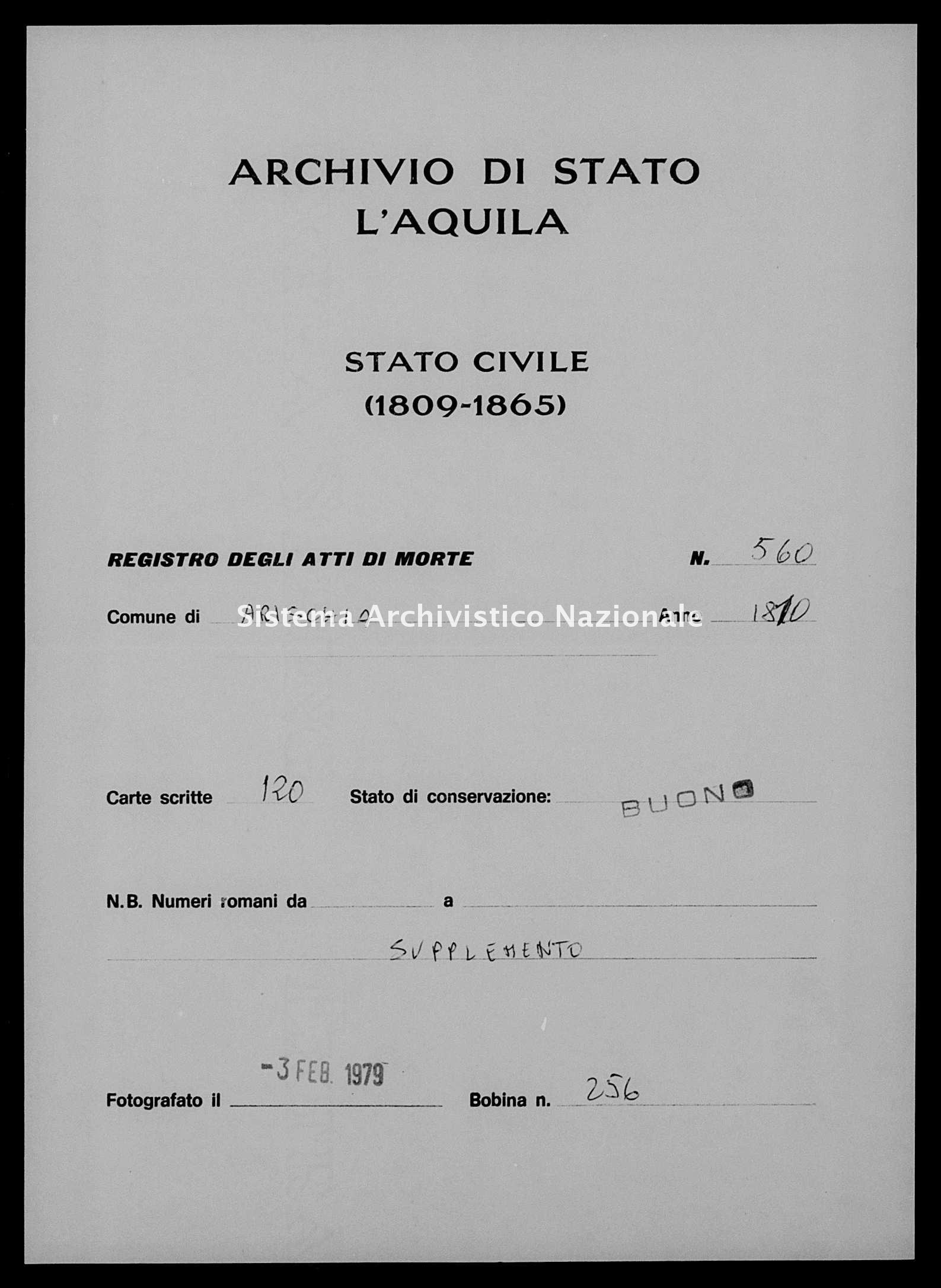 Archivio di stato di L'aquila - Stato civile napoleonico - Arischia - Morti, sepoltura - 1810 - 560 -