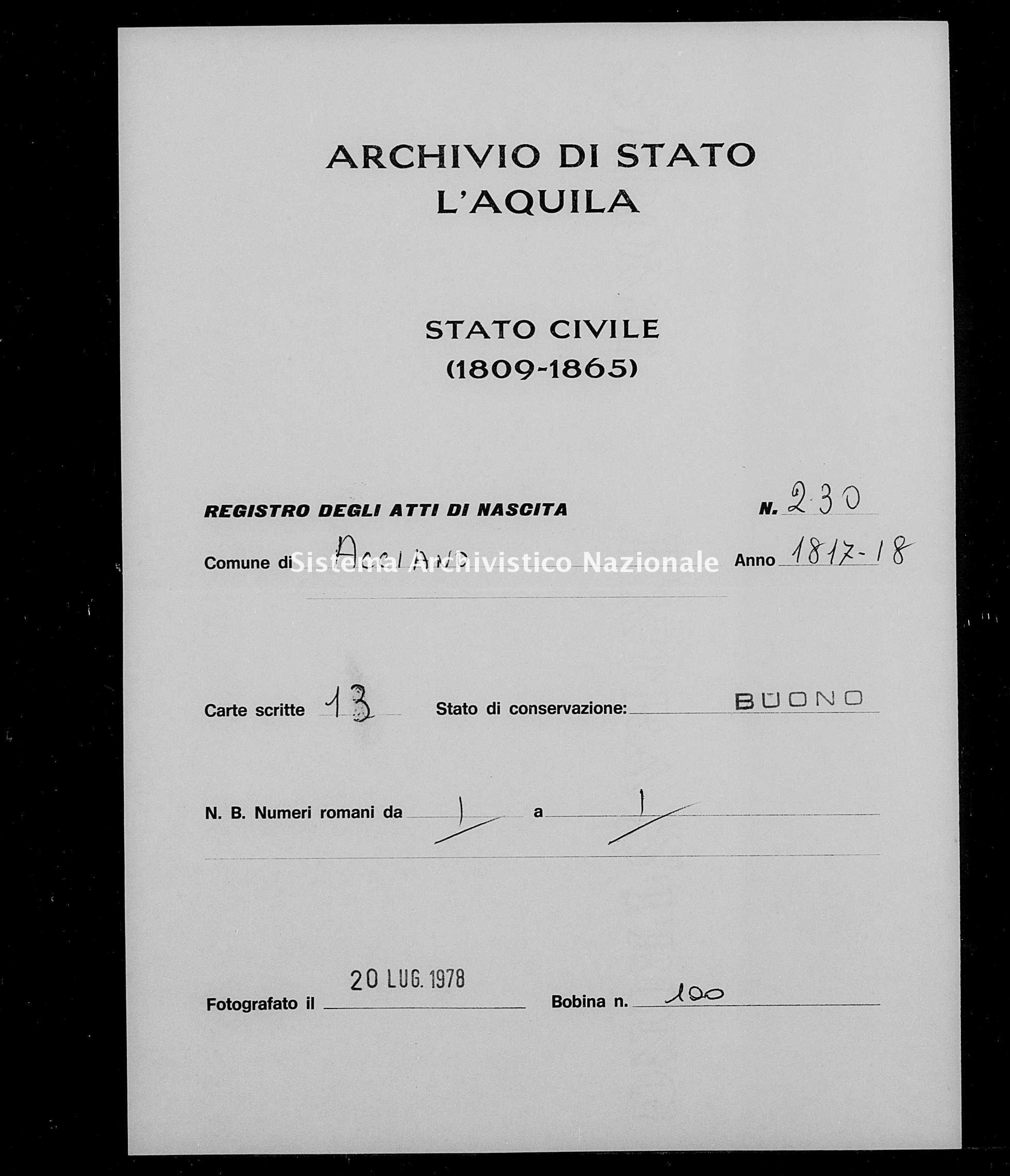 Archivio di stato di L'aquila - Stato civile della restaurazione - Acciano - Nati - 1817 - 229 -