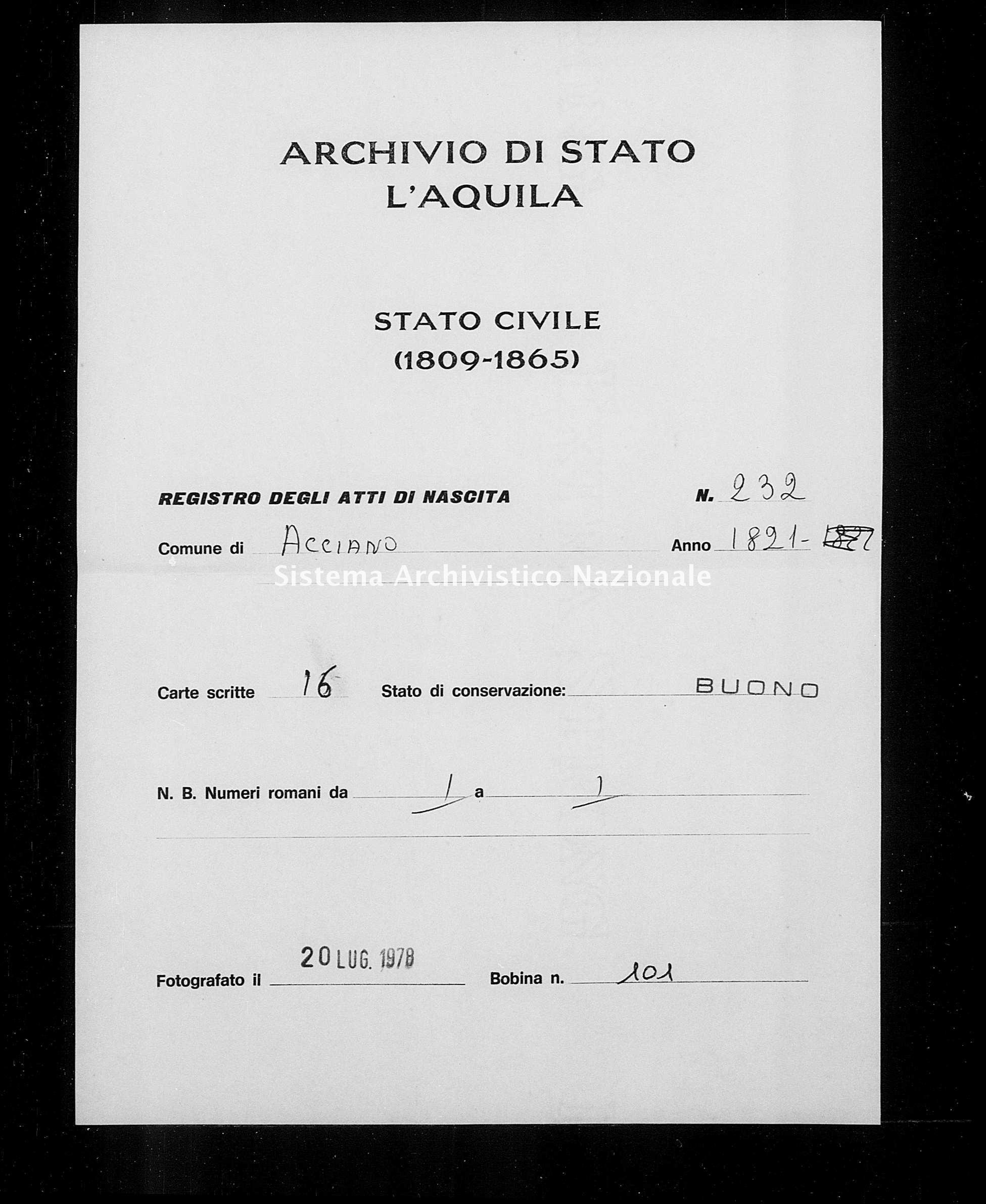 Archivio di stato di L'aquila - Stato civile della restaurazione - Acciano - Nati - 1821 - 232 -