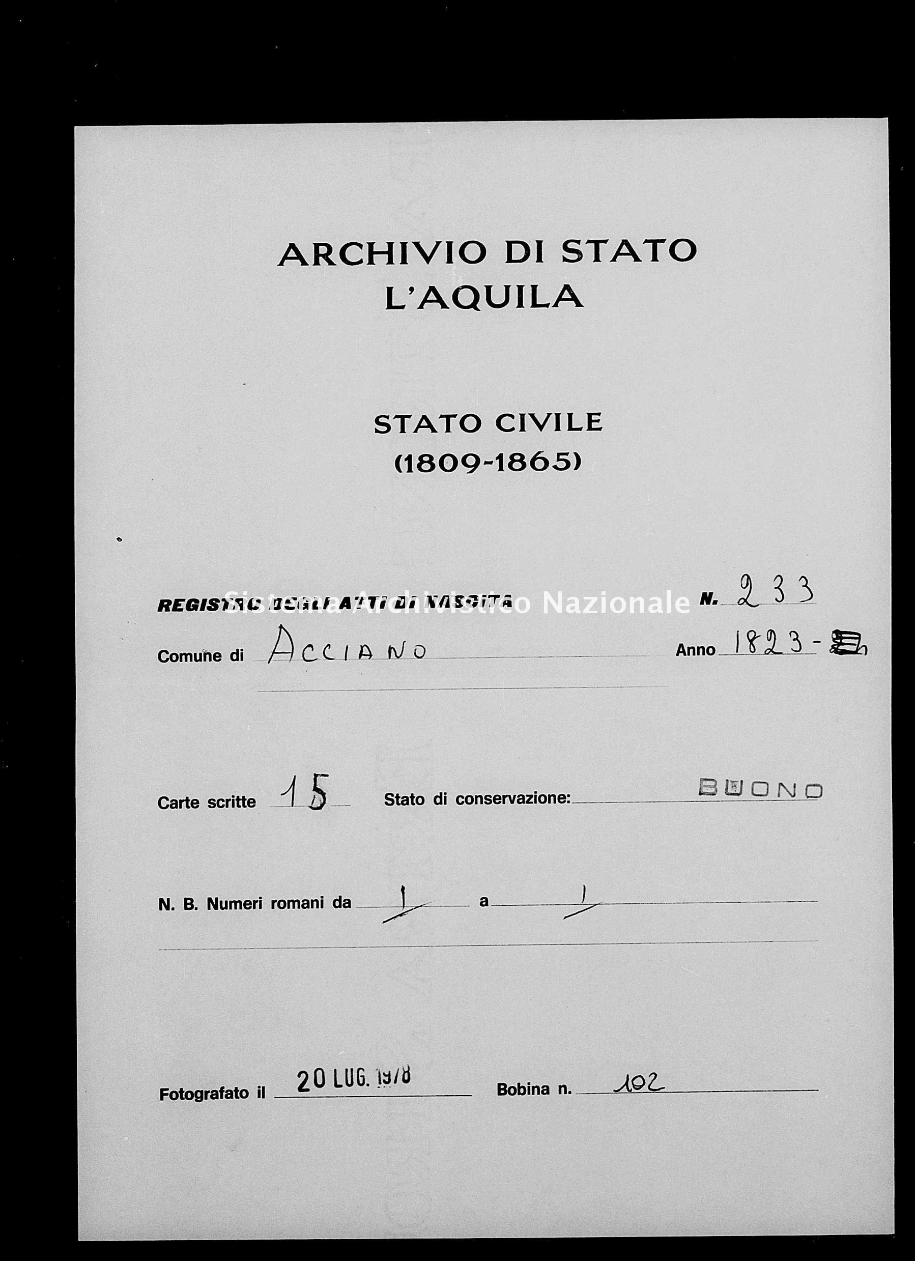 Archivio di stato di L'aquila - Stato civile della restaurazione - Acciano - Nati - 1823 - 233 -