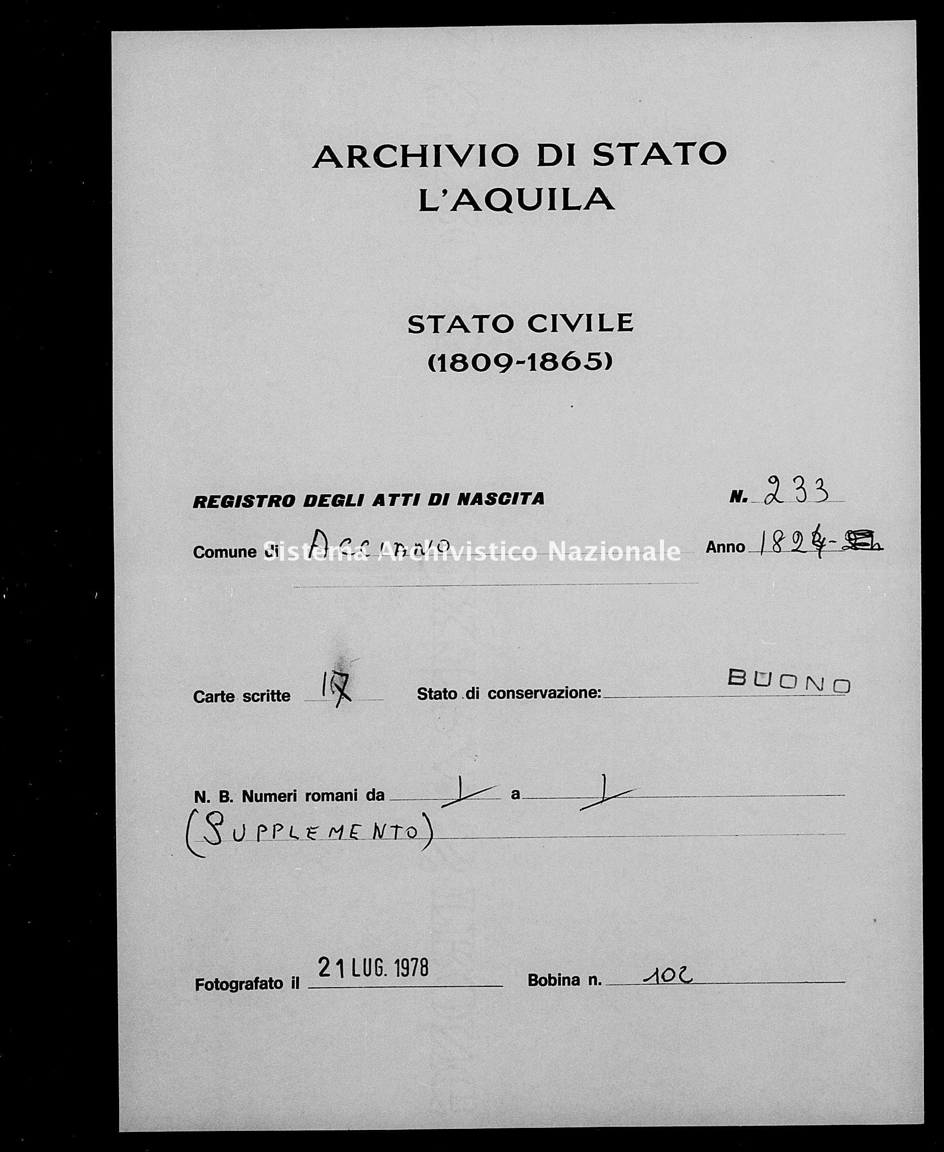 Archivio di stato di L'aquila - Stato civile della restaurazione - Acciano - Nati - 1824 - 233 -
