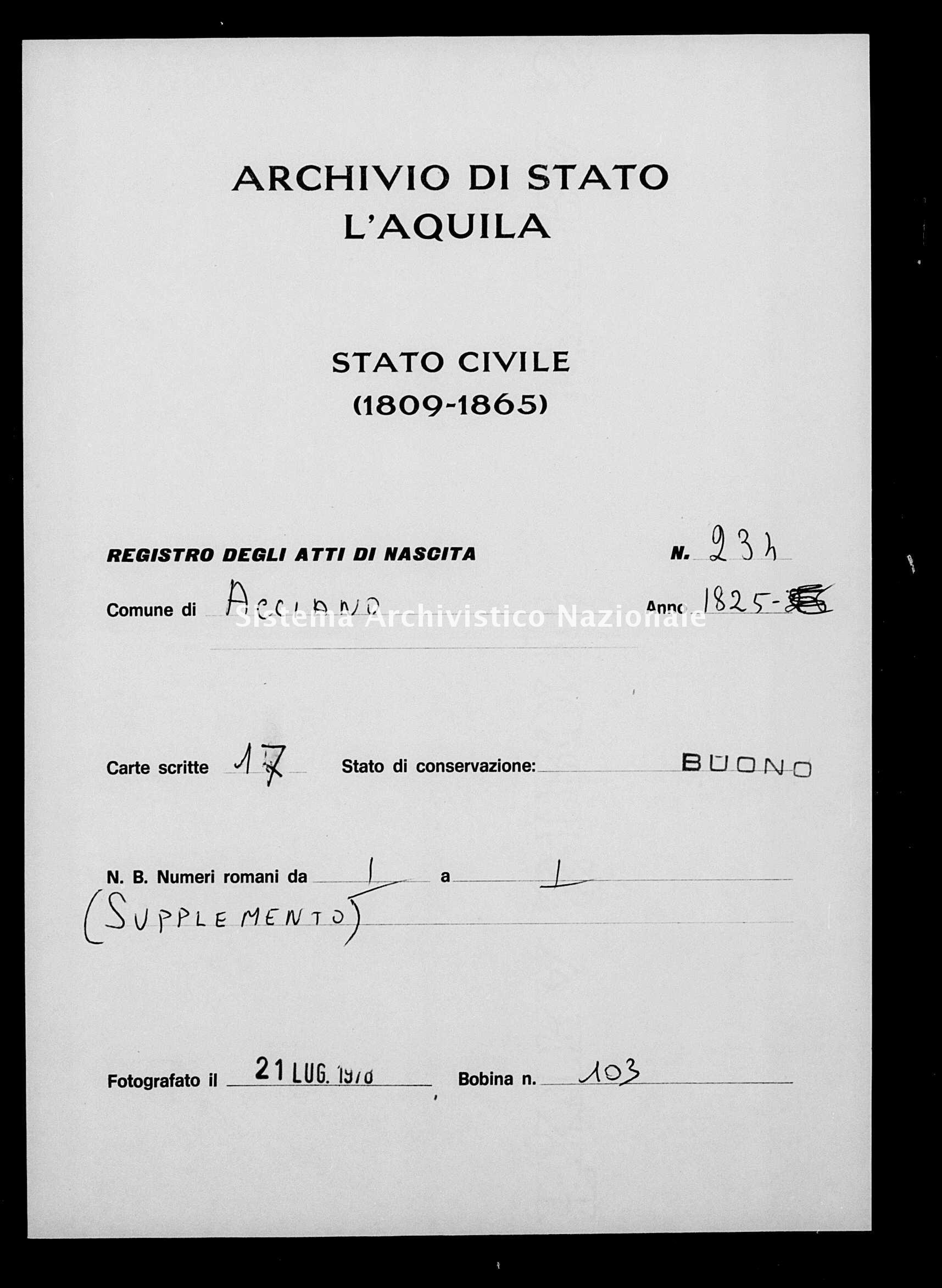 Archivio di stato di L'aquila - Stato civile della restaurazione - Acciano - Nati - 1825 - 234 -