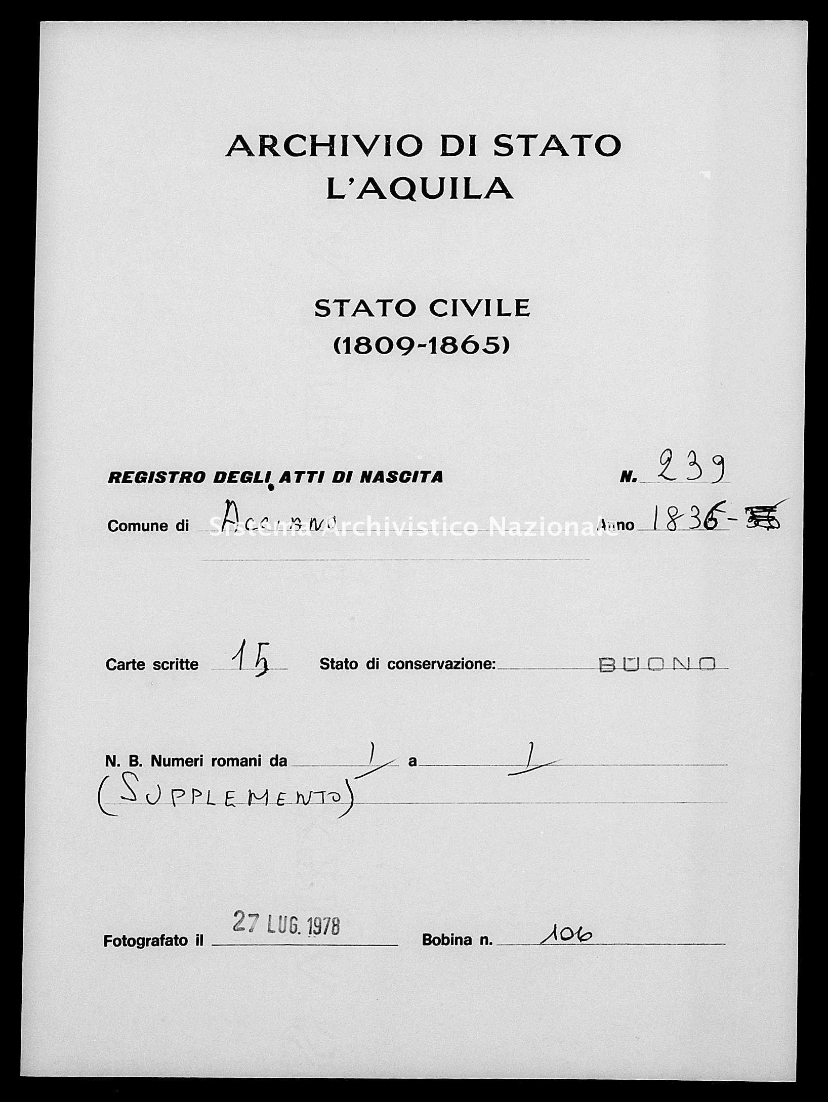 Archivio di stato di L'aquila - Stato civile della restaurazione - Acciano - Nati - 1836 - 239 -