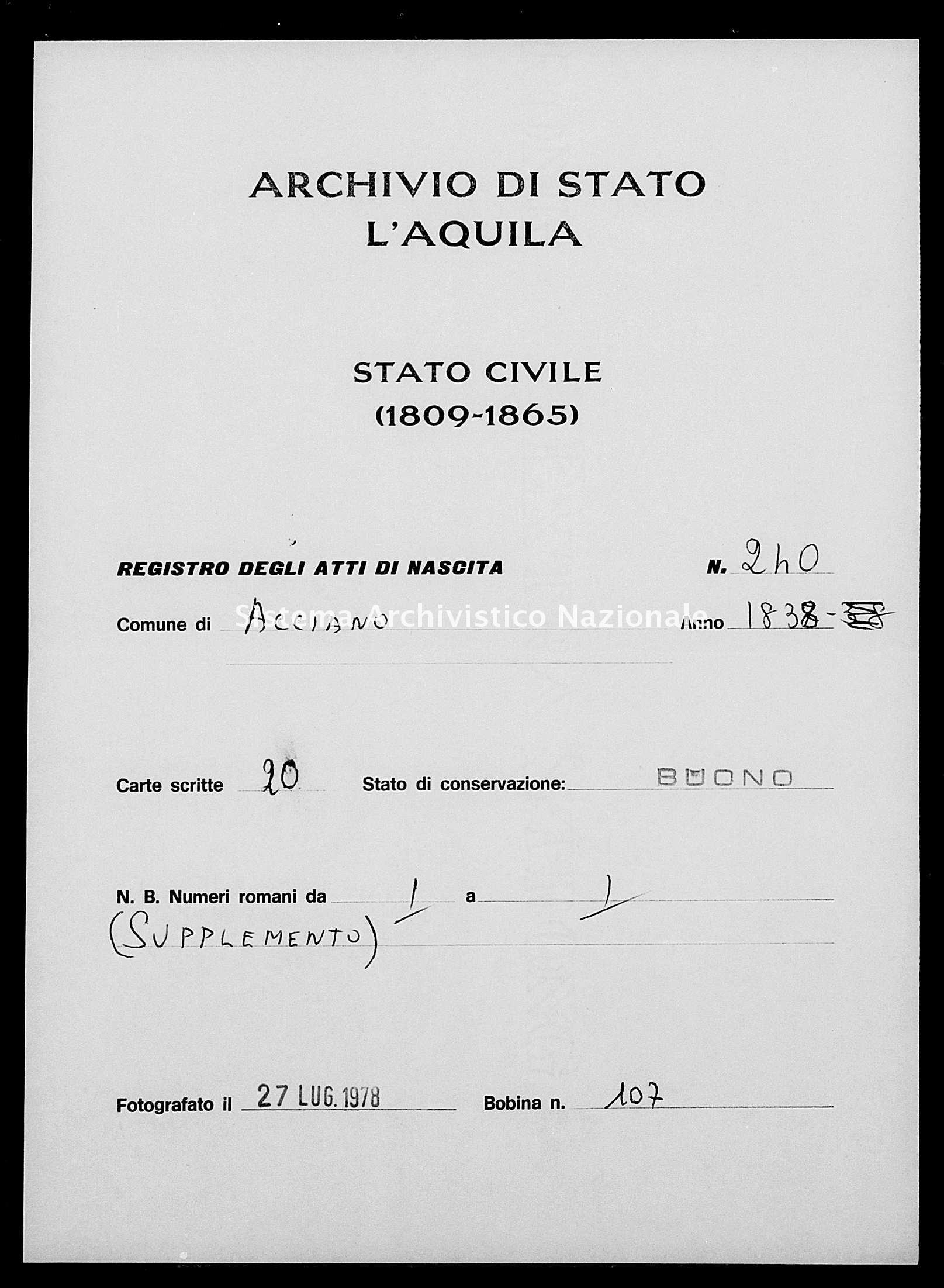 Archivio di stato di L'aquila - Stato civile della restaurazione - Acciano - Nati - 1838 - 240 -