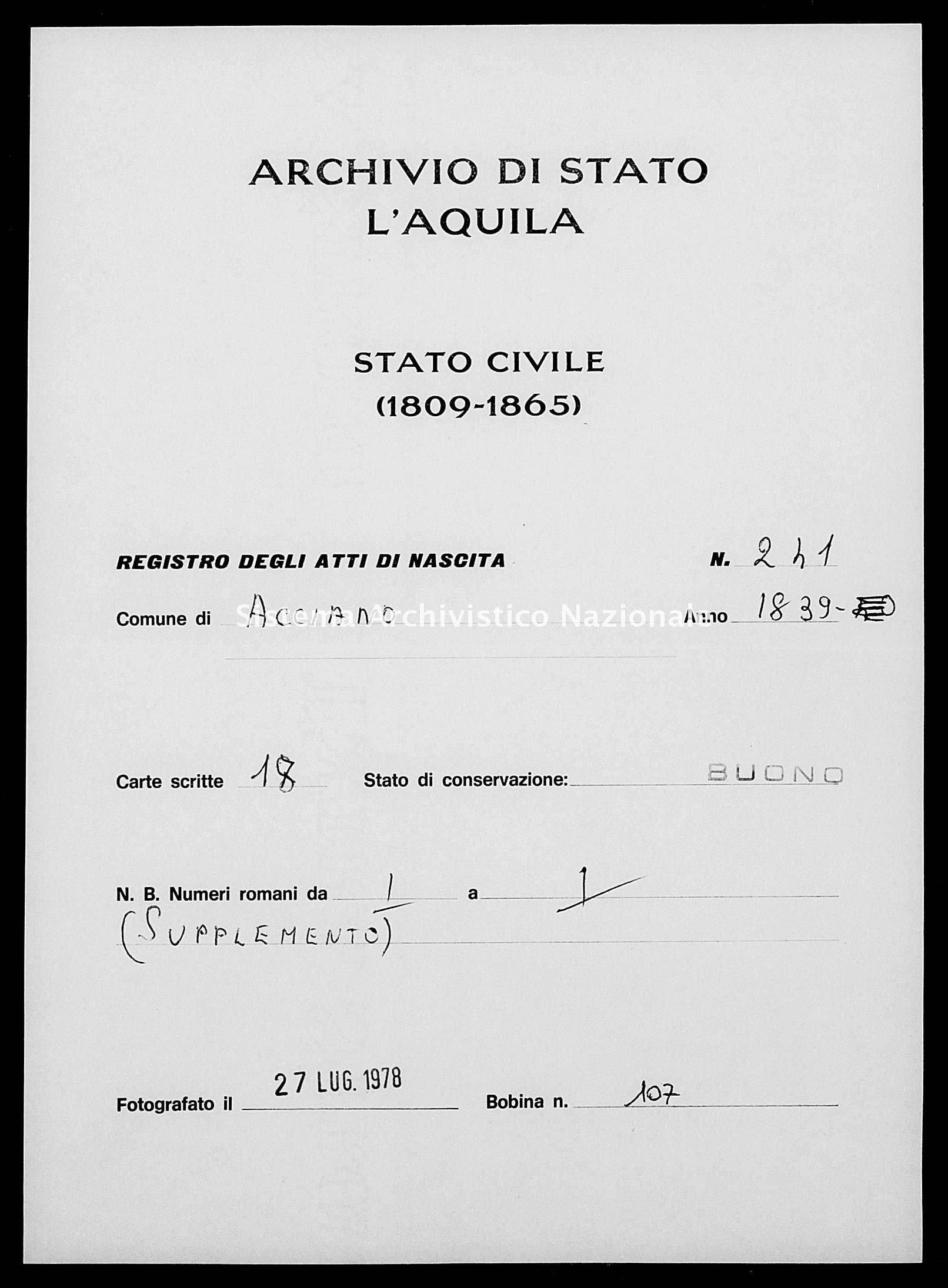 Archivio di stato di L'aquila - Stato civile della restaurazione - Acciano - Nati - 1839 - 241 -