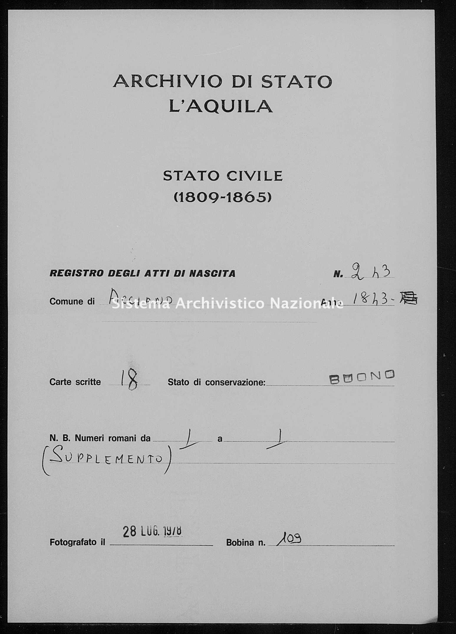 Archivio di stato di L'aquila - Stato civile della restaurazione - Acciano - Nati - 1843 - 243 -