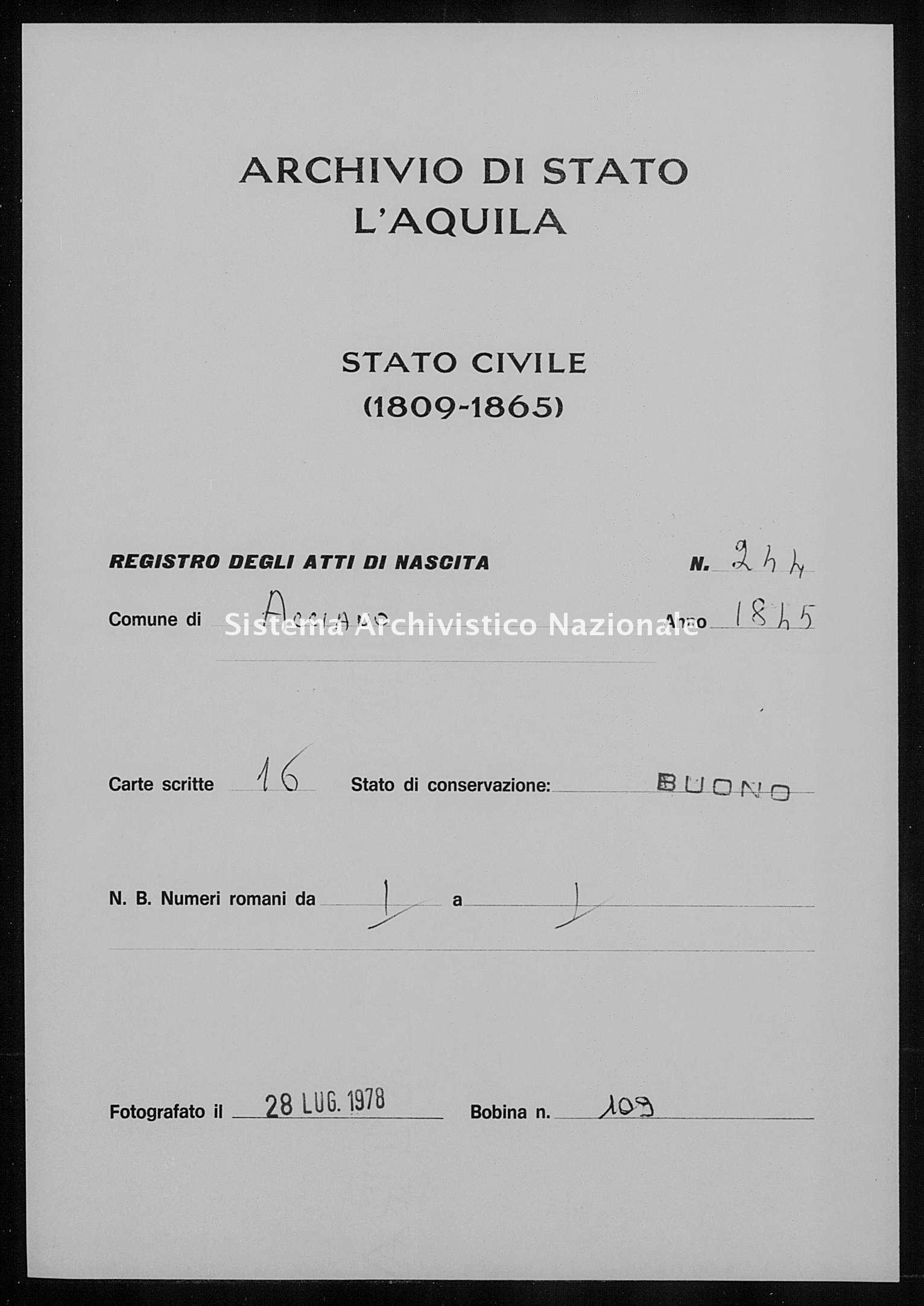 Archivio di stato di L'aquila - Stato civile della restaurazione - Acciano - Nati - 1845 - 244 -
