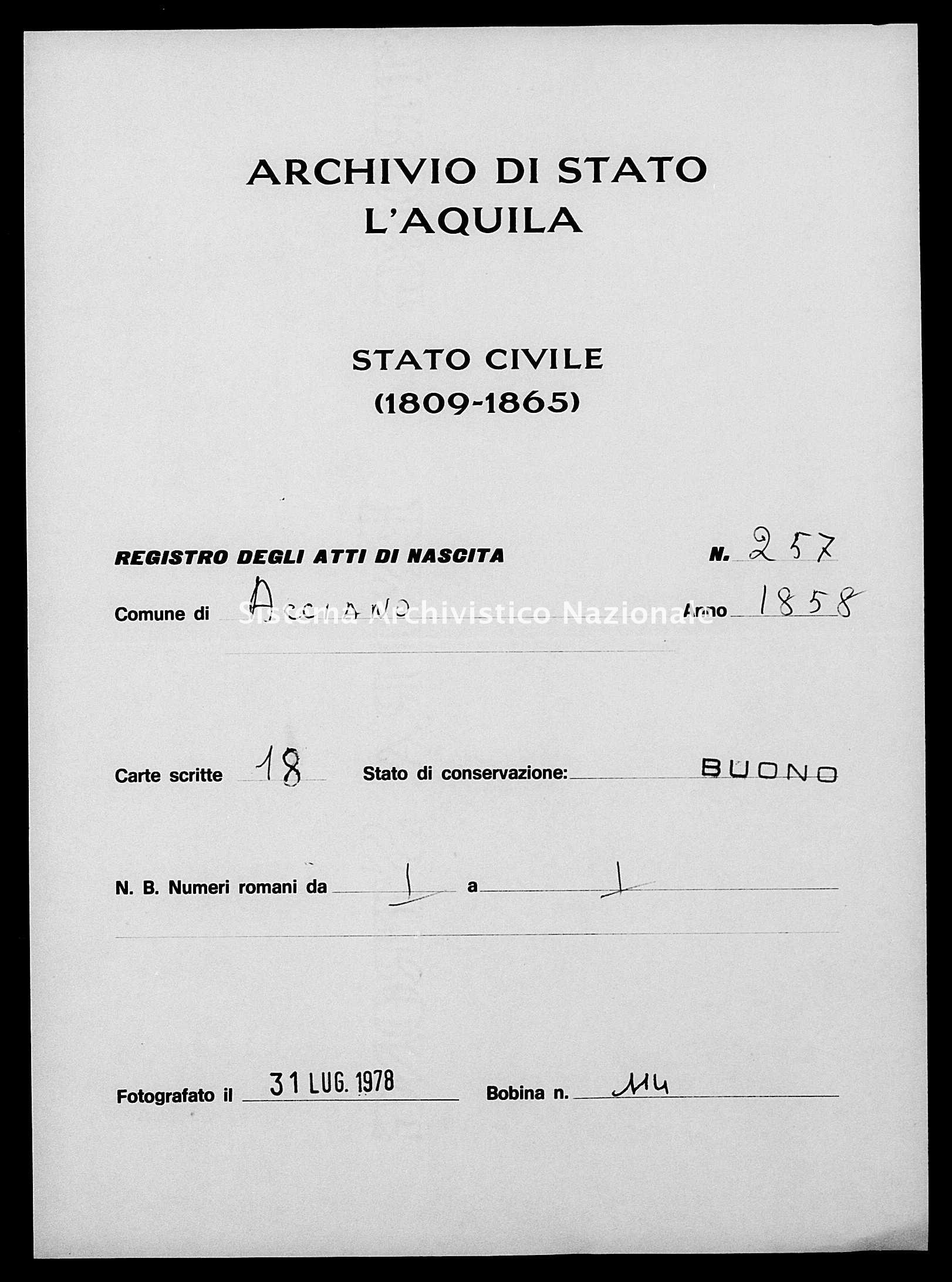 Archivio di stato di L'aquila - Stato civile della restaurazione - Acciano - Nati - 1858 - 257 -