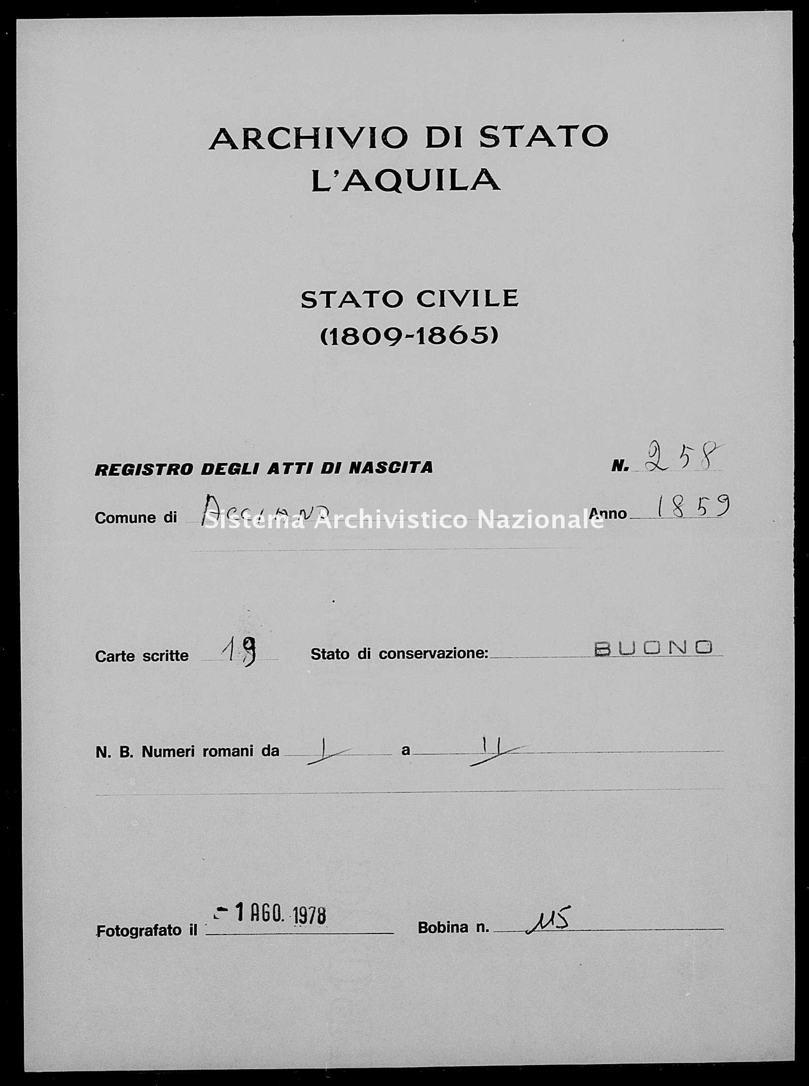 Archivio di stato di L'aquila - Stato civile della restaurazione - Acciano - Nati - 1859 - 258 -