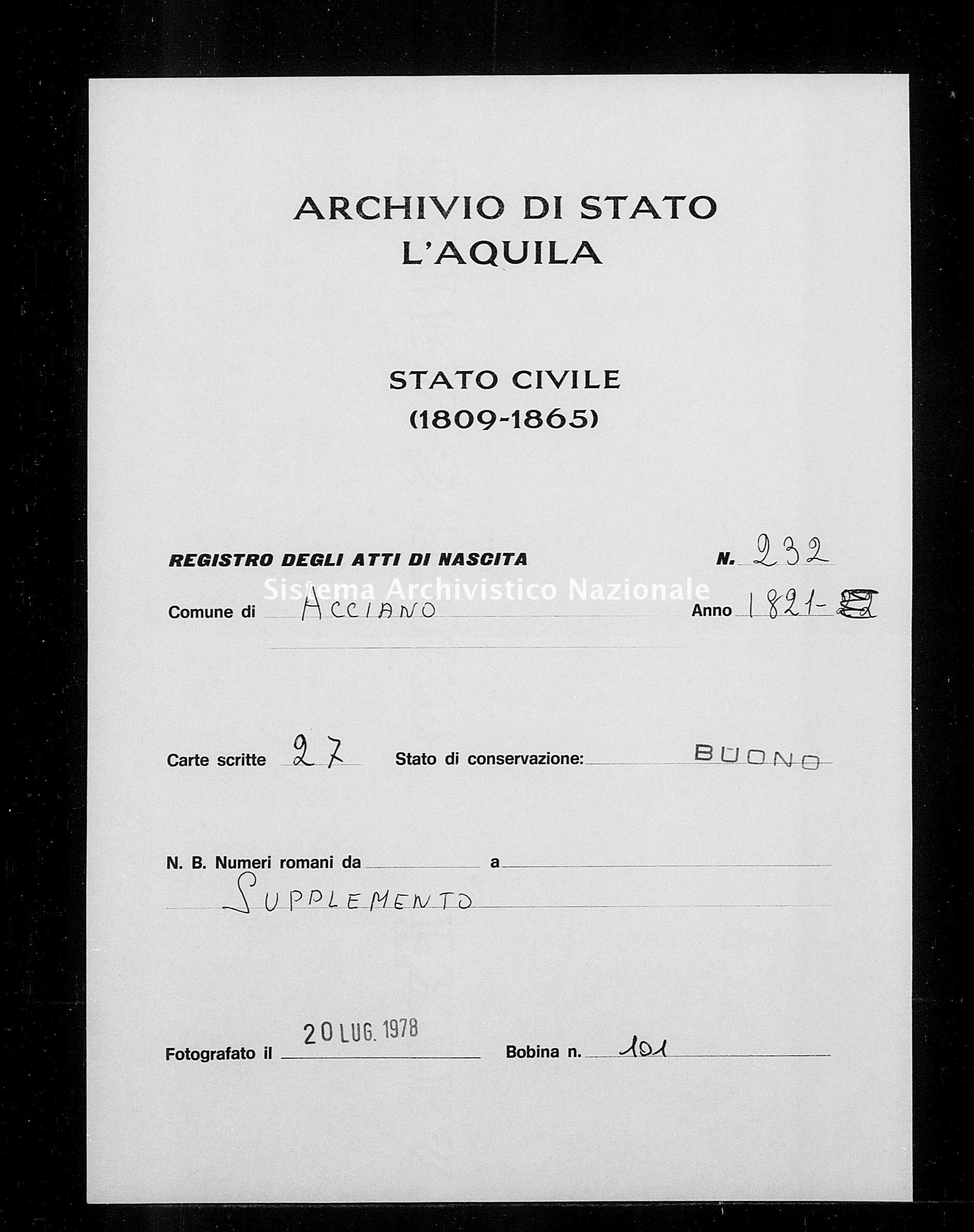 Archivio di stato di L'aquila - Stato civile della restaurazione - Acciano - Nati, battesimi - 1821 - 232 -