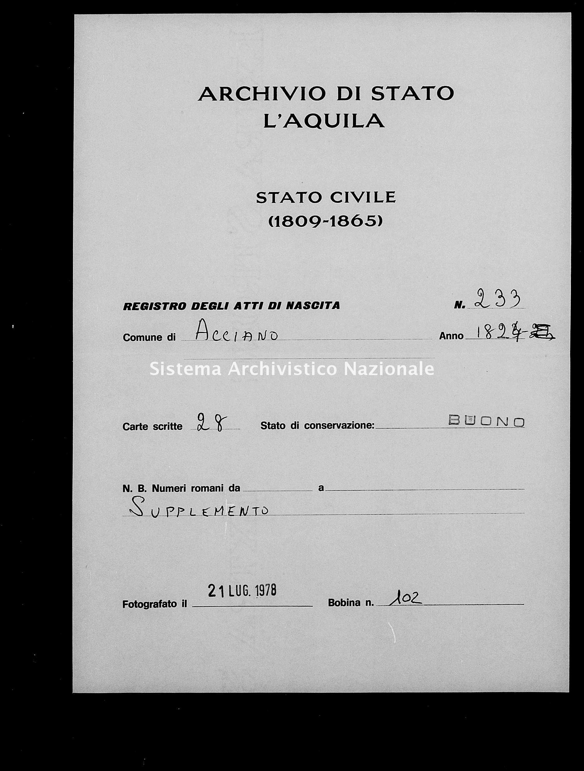 Archivio di stato di L'aquila - Stato civile della restaurazione - Acciano - Nati, battesimi - 1824 - 233 -