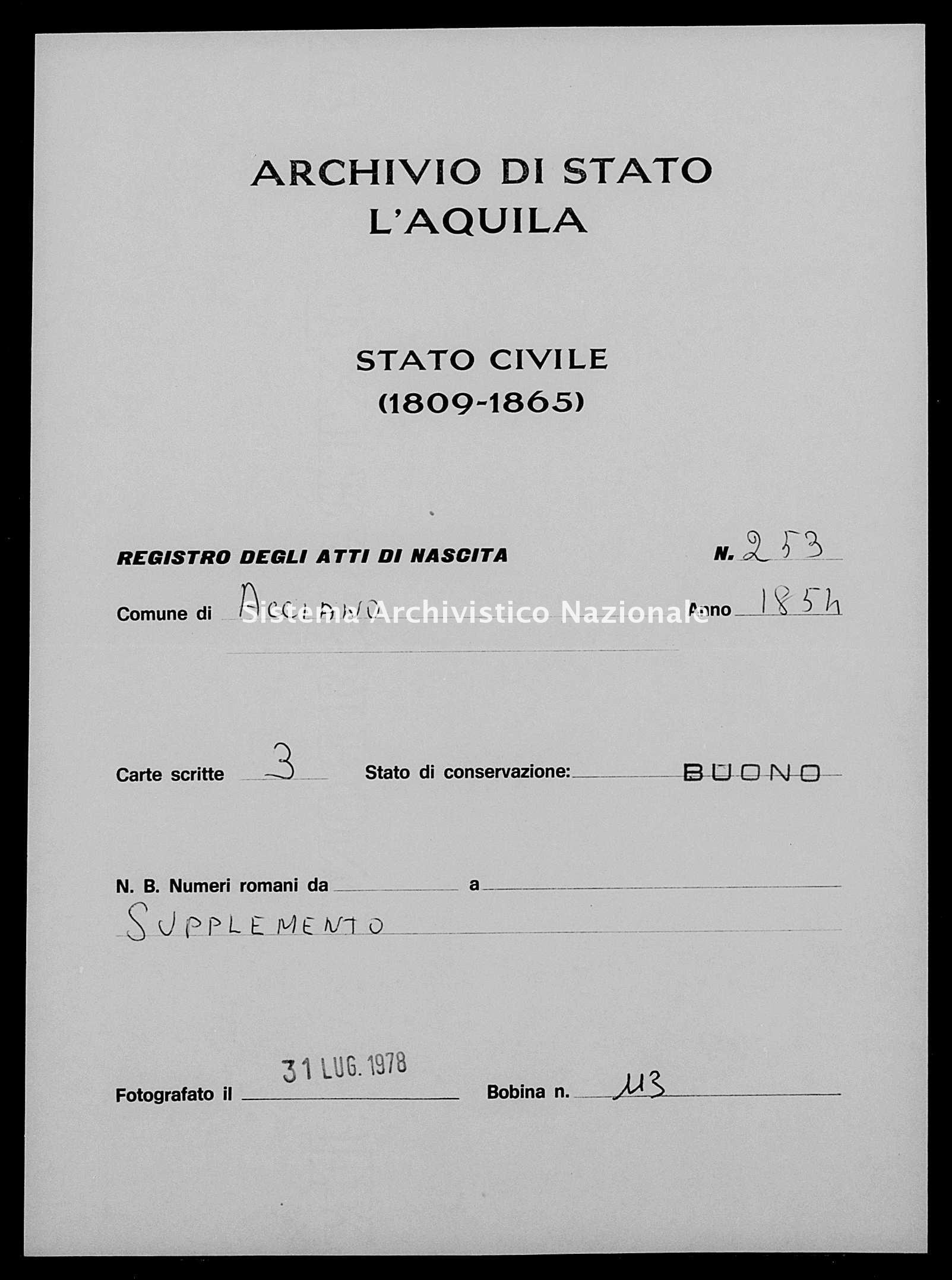Archivio di stato di L'aquila - Stato civile della restaurazione - Acciano - Nati, battesimi esposti - 1854 - 253 -