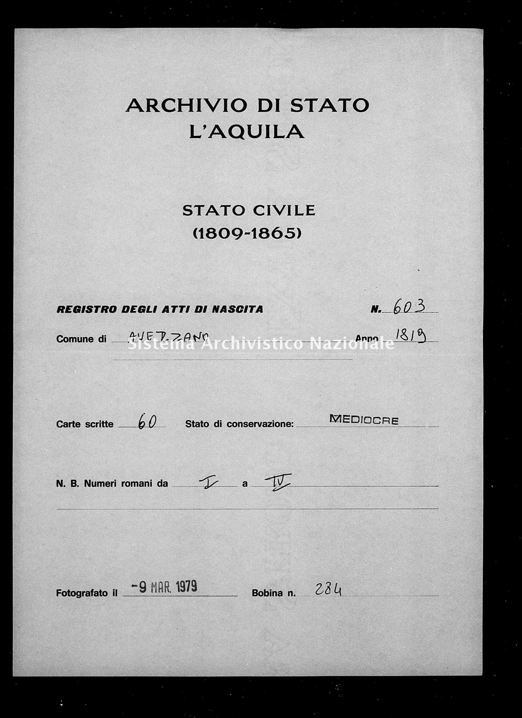 Archivio di stato di L'aquila - Stato civile della restaurazione - Avezzano - Nati - 1819 - 603 -