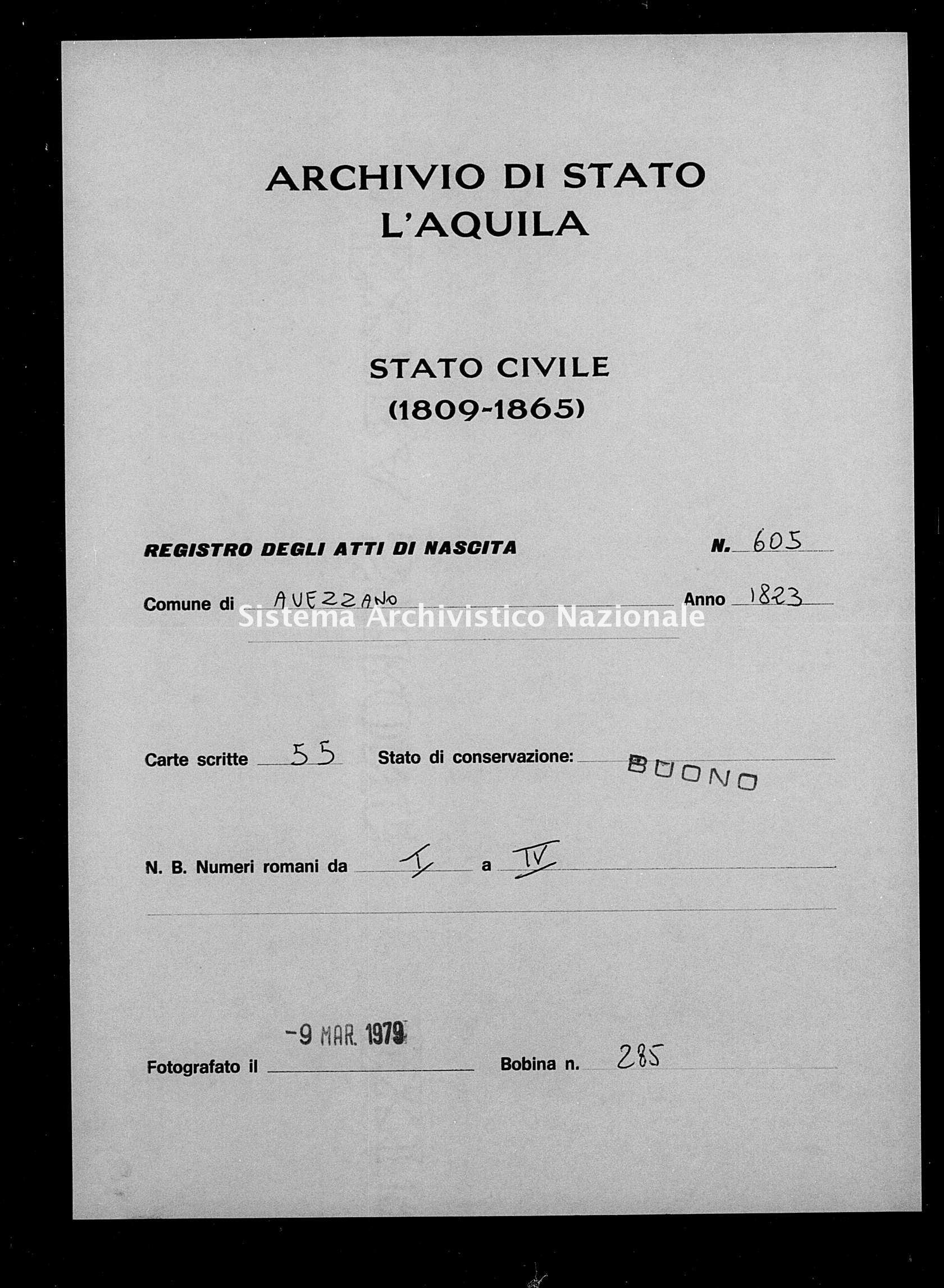 Archivio di stato di L'aquila - Stato civile della restaurazione - Avezzano - Nati - 1823 - 605 -
