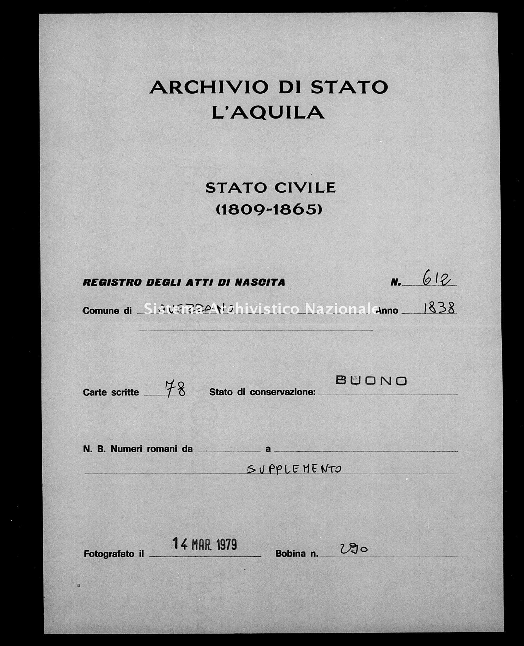 Archivio di stato di L'aquila - Stato civile della restaurazione - Avezzano - Nati, battesimi - 1838 - 612 -