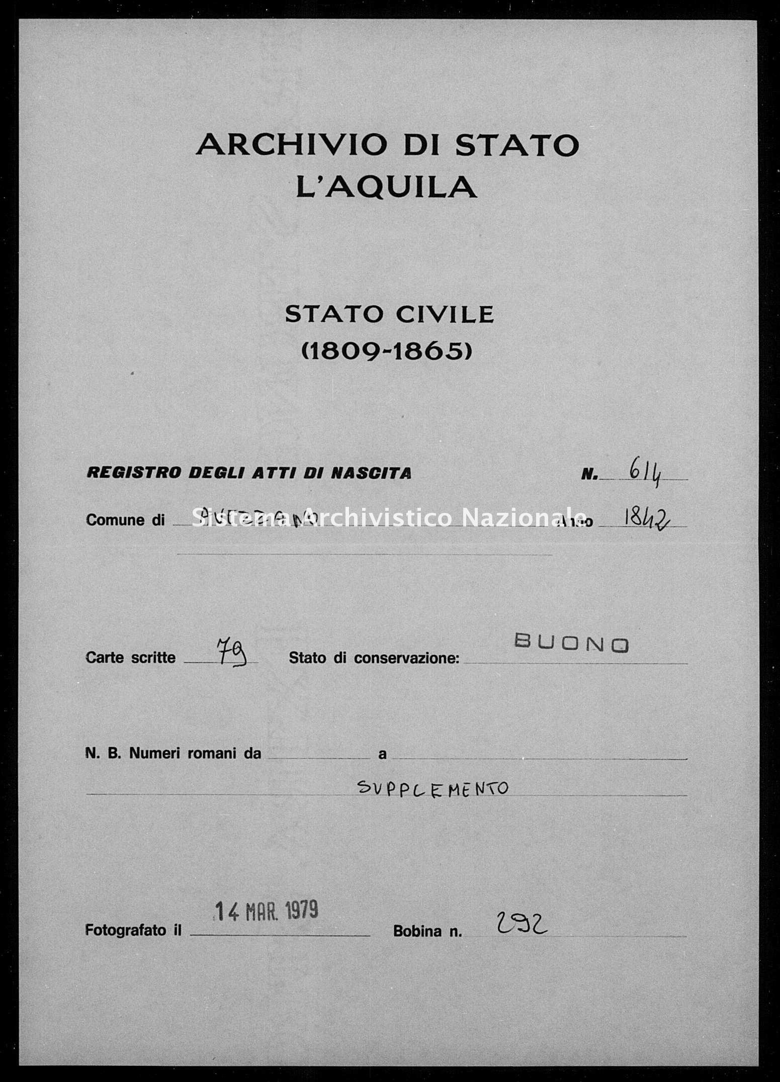 Archivio di stato di L'aquila - Stato civile della restaurazione - Avezzano - Nati, battesimi - 1842 - 614 -