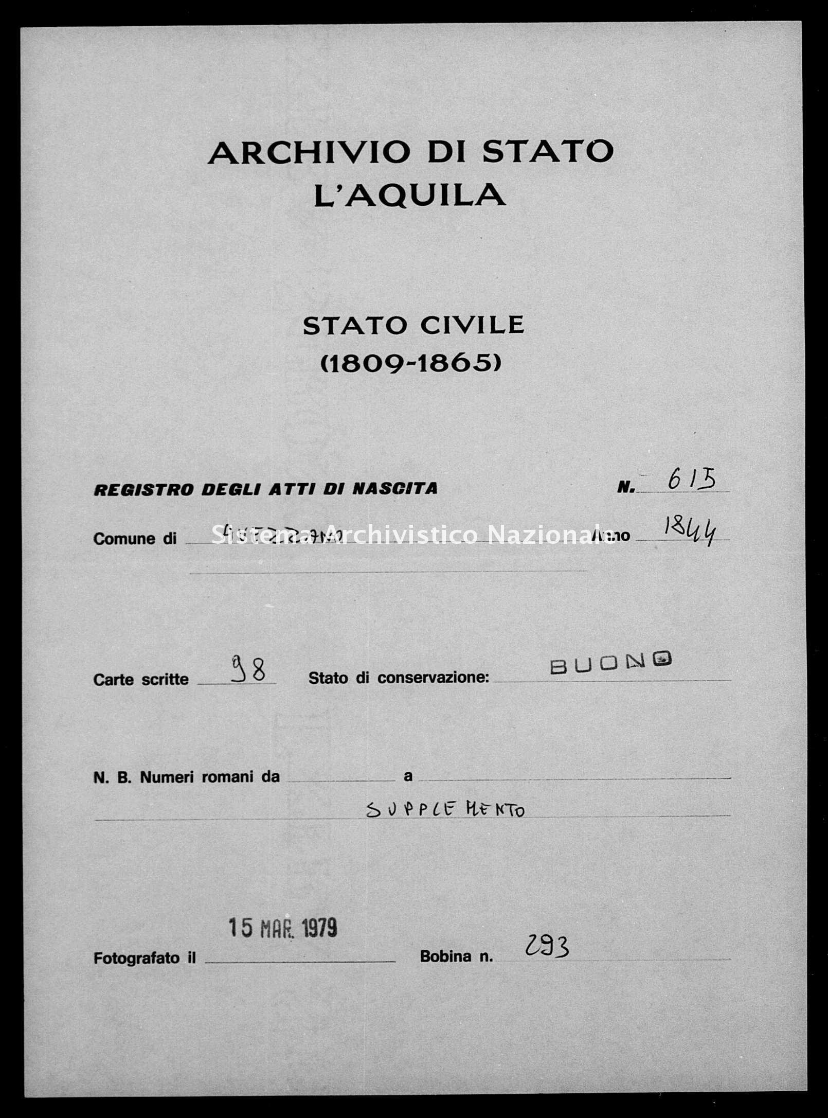 Archivio di stato di L'aquila - Stato civile della restaurazione - Avezzano - Nati, battesimi - 1845 - 616 -