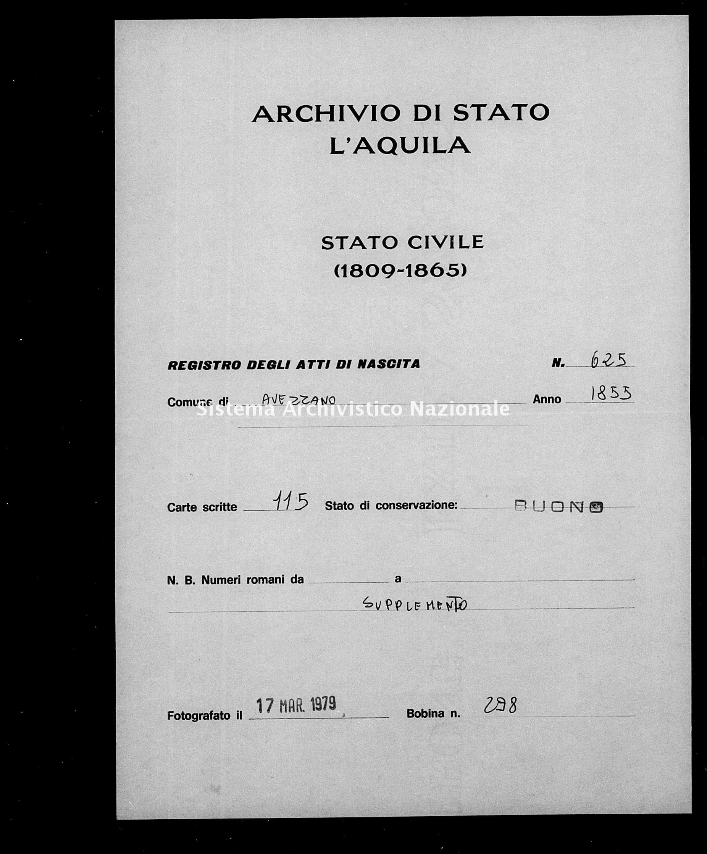 Archivio di stato di L'aquila - Stato civile della restaurazione - Avezzano - Nati, battesimi - 1855 - 625 -