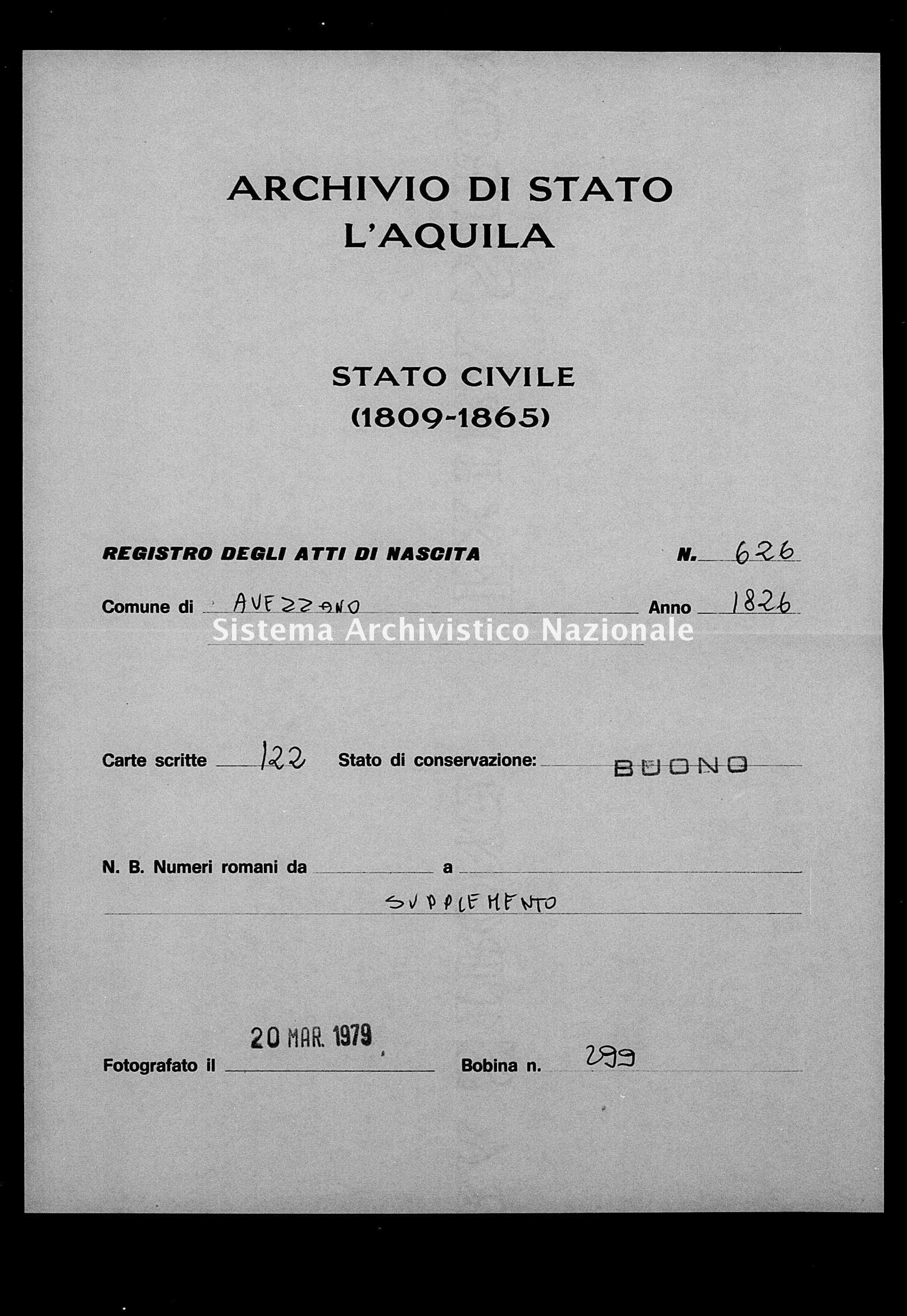 Archivio di stato di L'aquila - Stato civile della restaurazione - Avezzano - Nati, battesimi - 1856 - 626 -