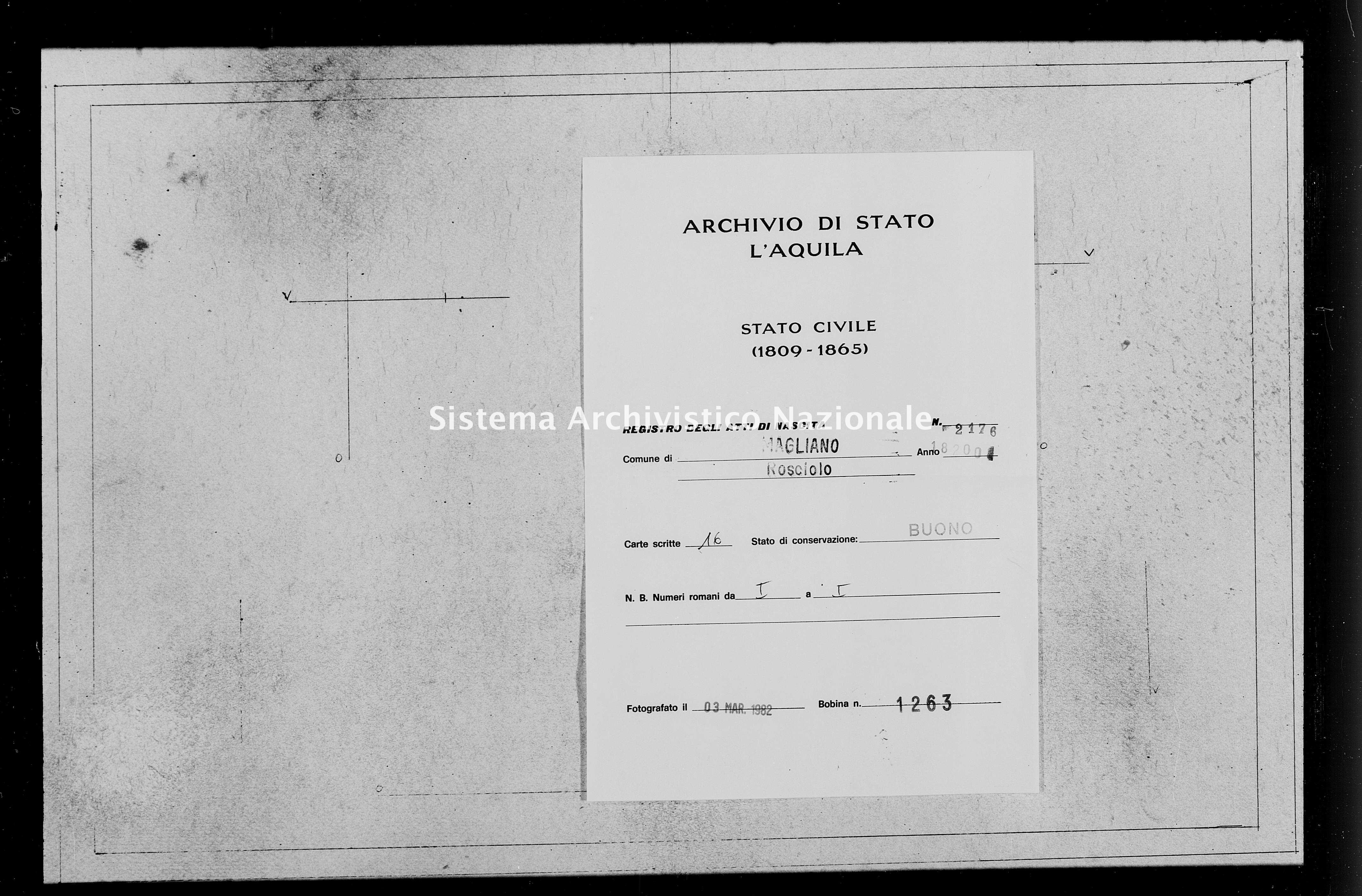 Archivio di stato di L'aquila - Stato civile della restaurazione - Rosciolo - Nati - 1820 - 2176 -