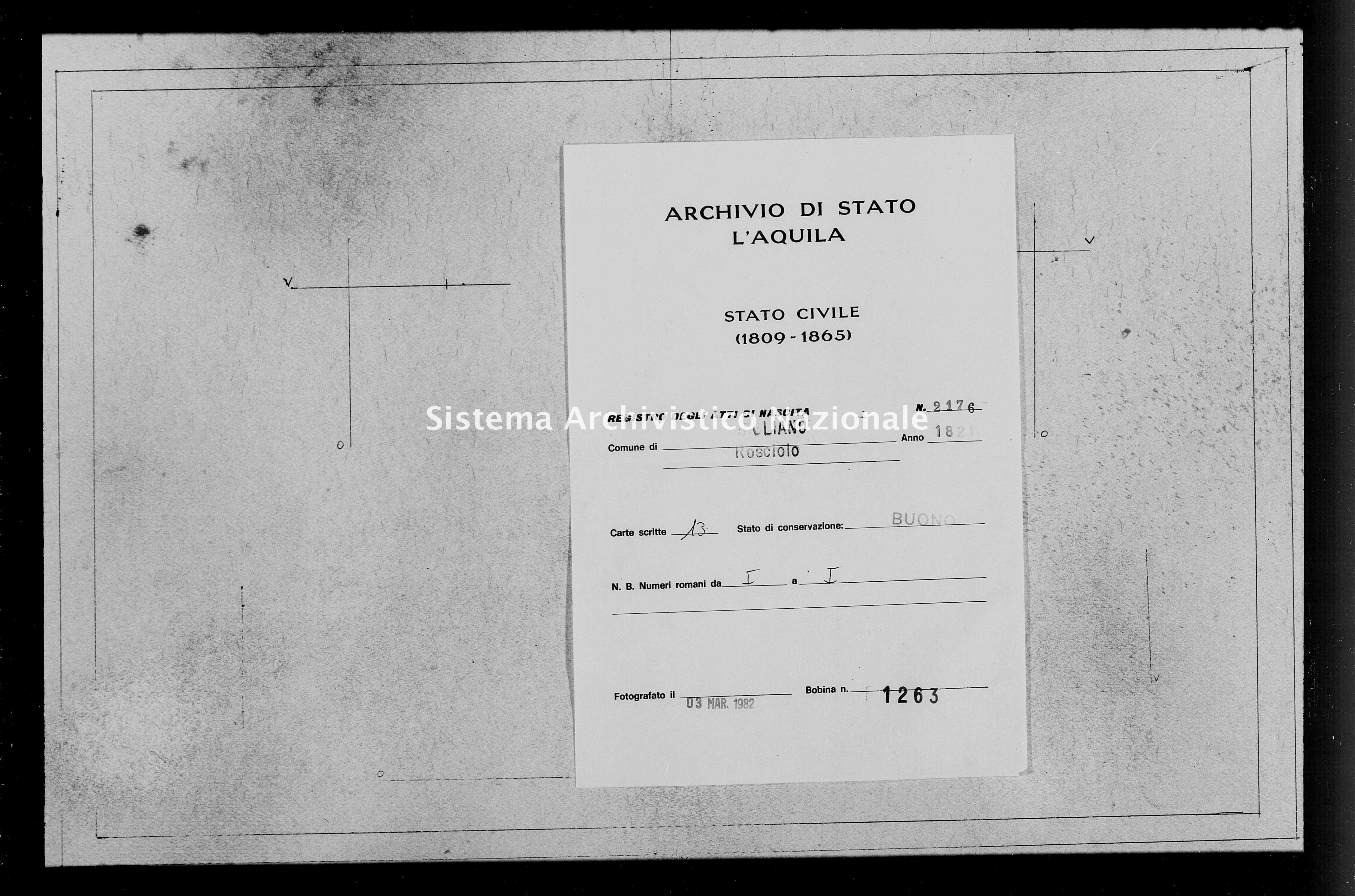 Archivio di stato di L'aquila - Stato civile della restaurazione - Rosciolo - Nati - 1821 - 2176 -