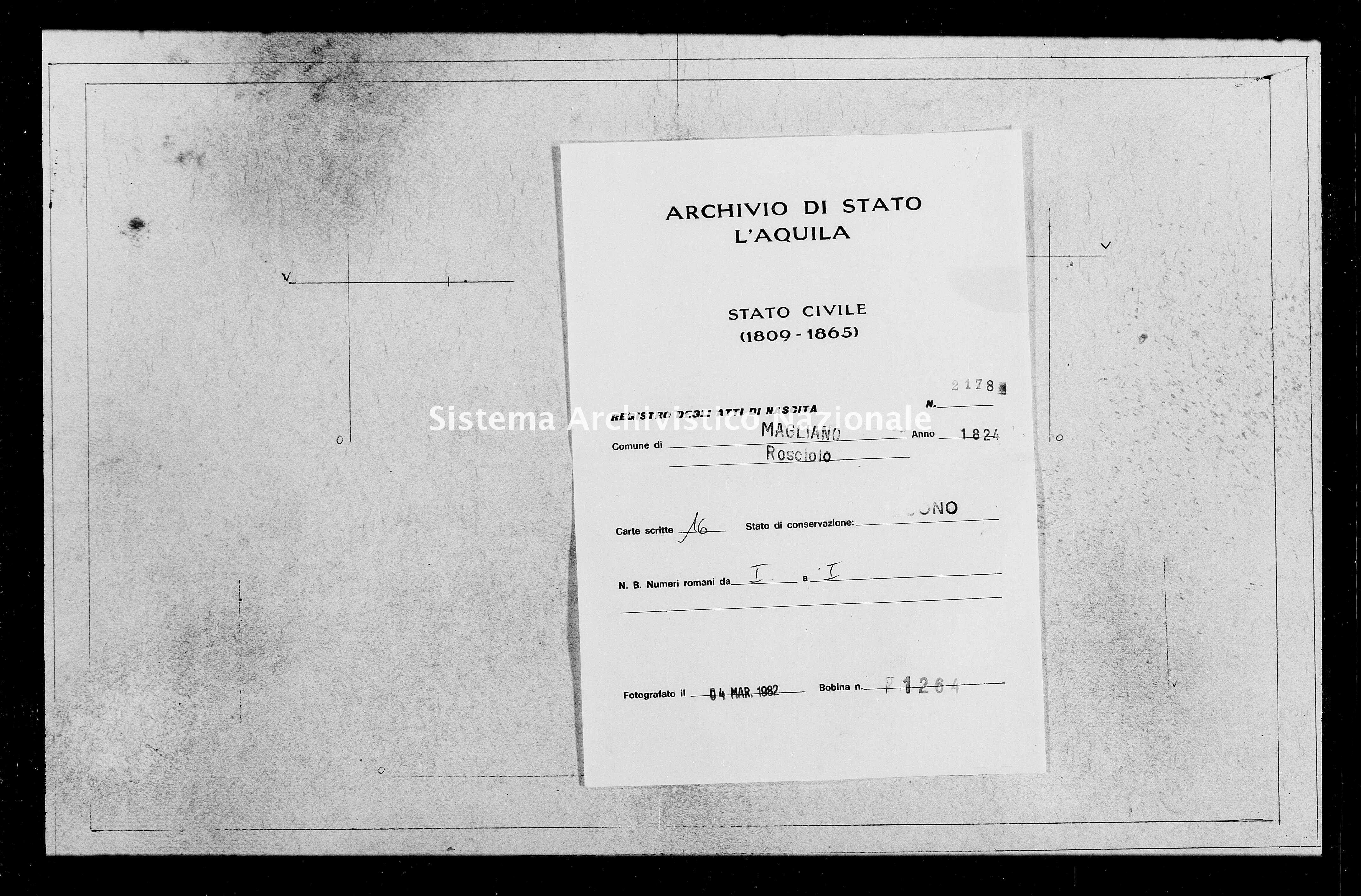 Archivio di stato di L'aquila - Stato civile della restaurazione - Rosciolo - Nati - 1824 - 2178 -