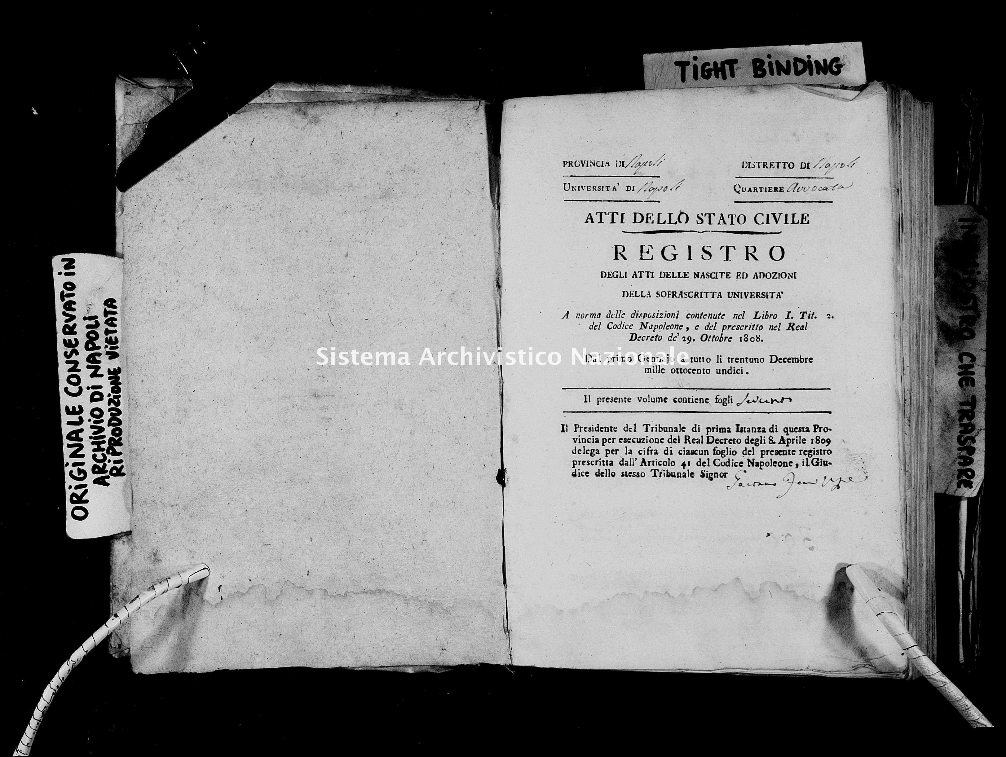 Archivio di stato di Napoli - Stato civile napoleonico - Avvocata - Nati - 1811 -