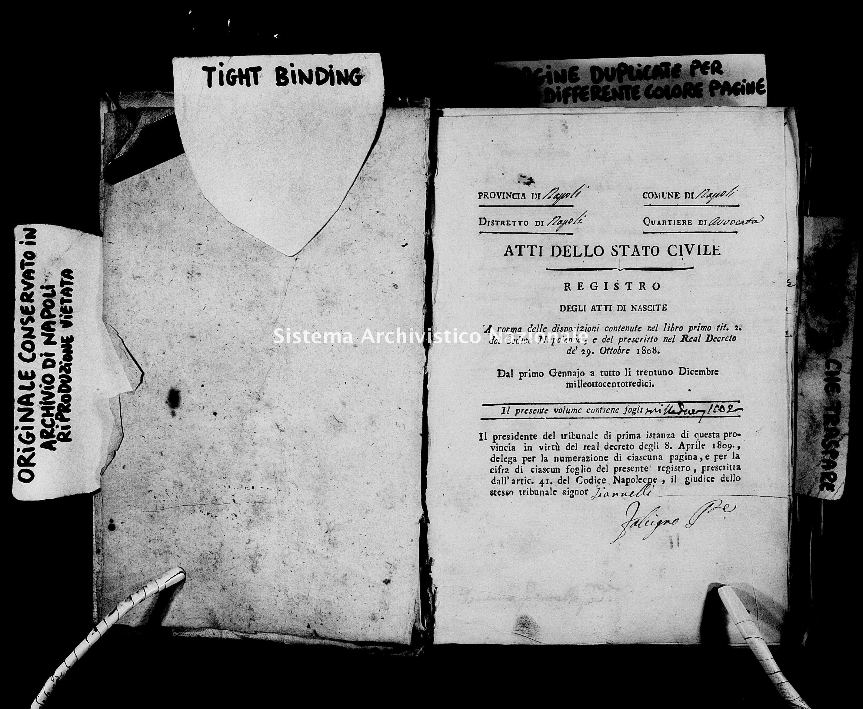 Archivio di stato di Napoli - Stato civile napoleonico - Avvocata - Nati - 01/01/1813-01/08/1813 -