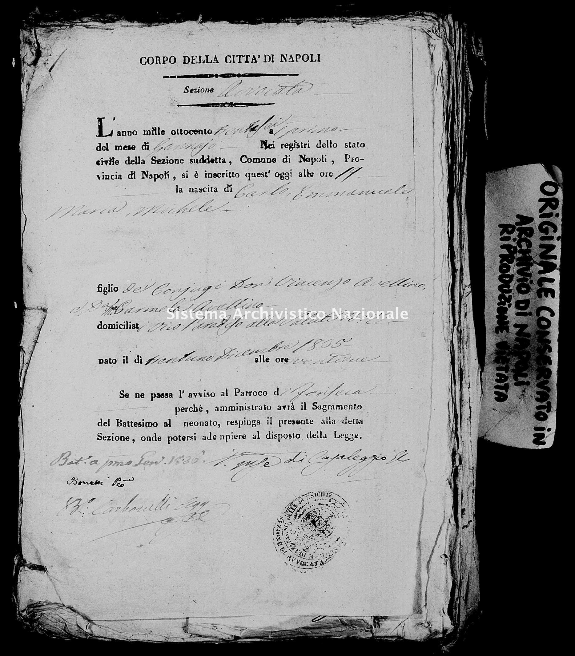 Archivio di stato di Napoli - Stato civile della restaurazione - Avvocata - Nati, battesimi - 01/01/1836-03/10/1836 -