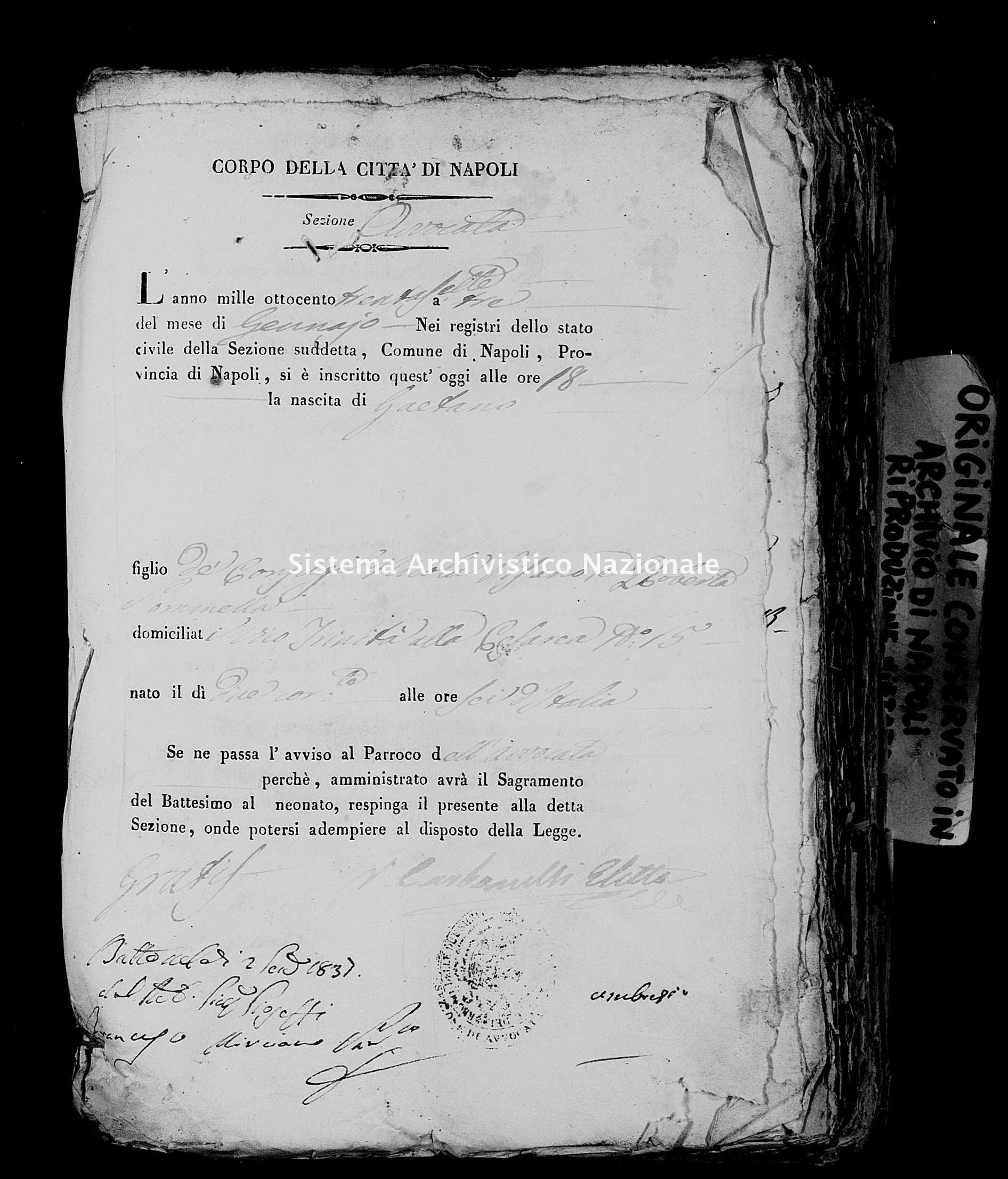 Archivio di stato di Napoli - Stato civile della restaurazione - Avvocata - Nati, battesimi - 03/01/1837-28/02/1837 -