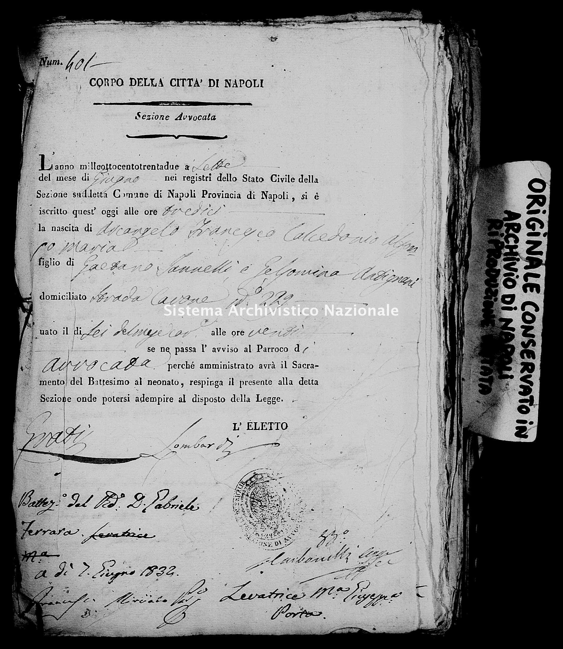Archivio di stato di Napoli - Stato civile della restaurazione - Avvocata - Nati, battesimi - 07/06/1832-30/12/1832 -