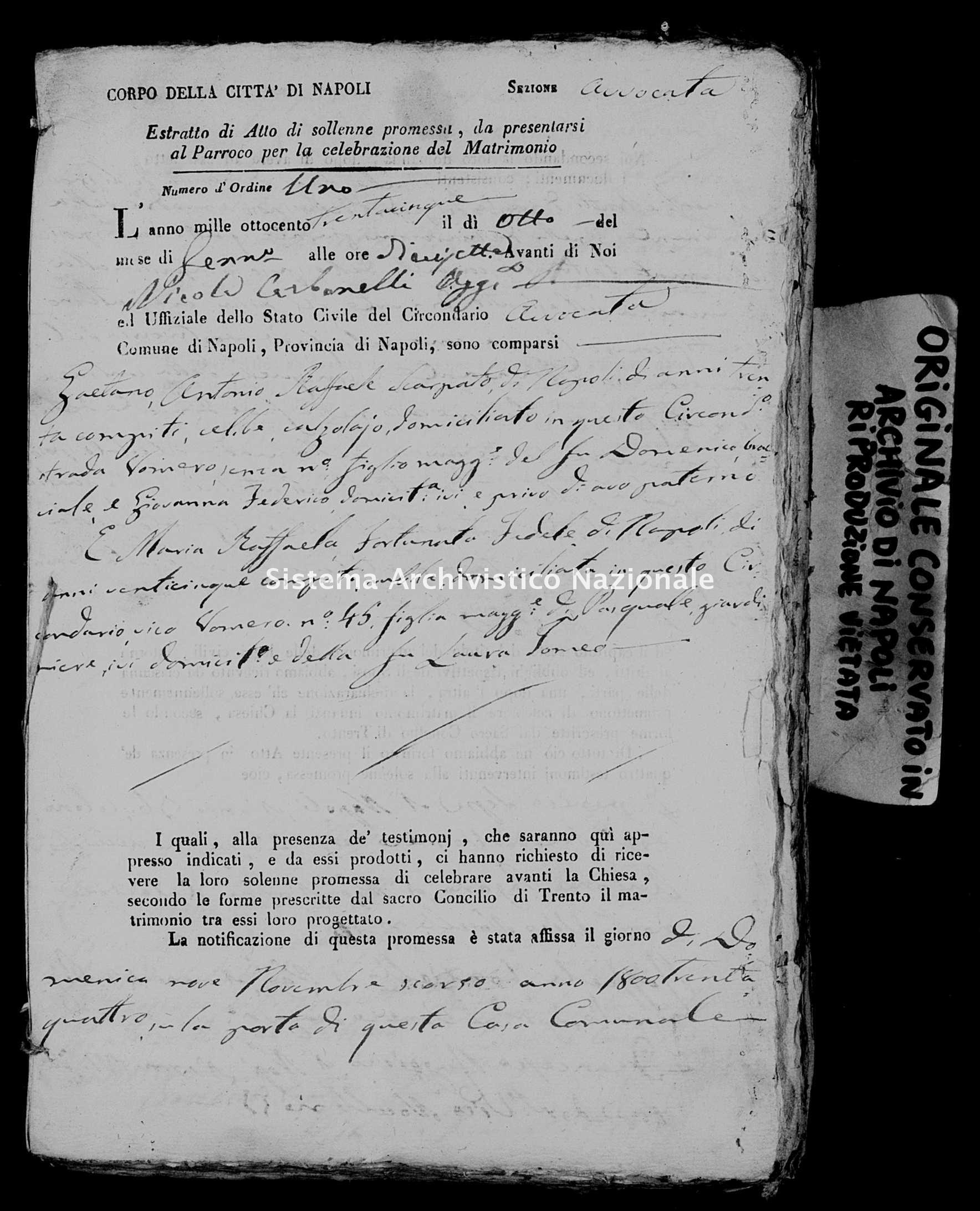 Archivio di stato di Napoli - Stato civile della restaurazione - Avvocata - Matrimoni, ecclesiastici - 1835 -
