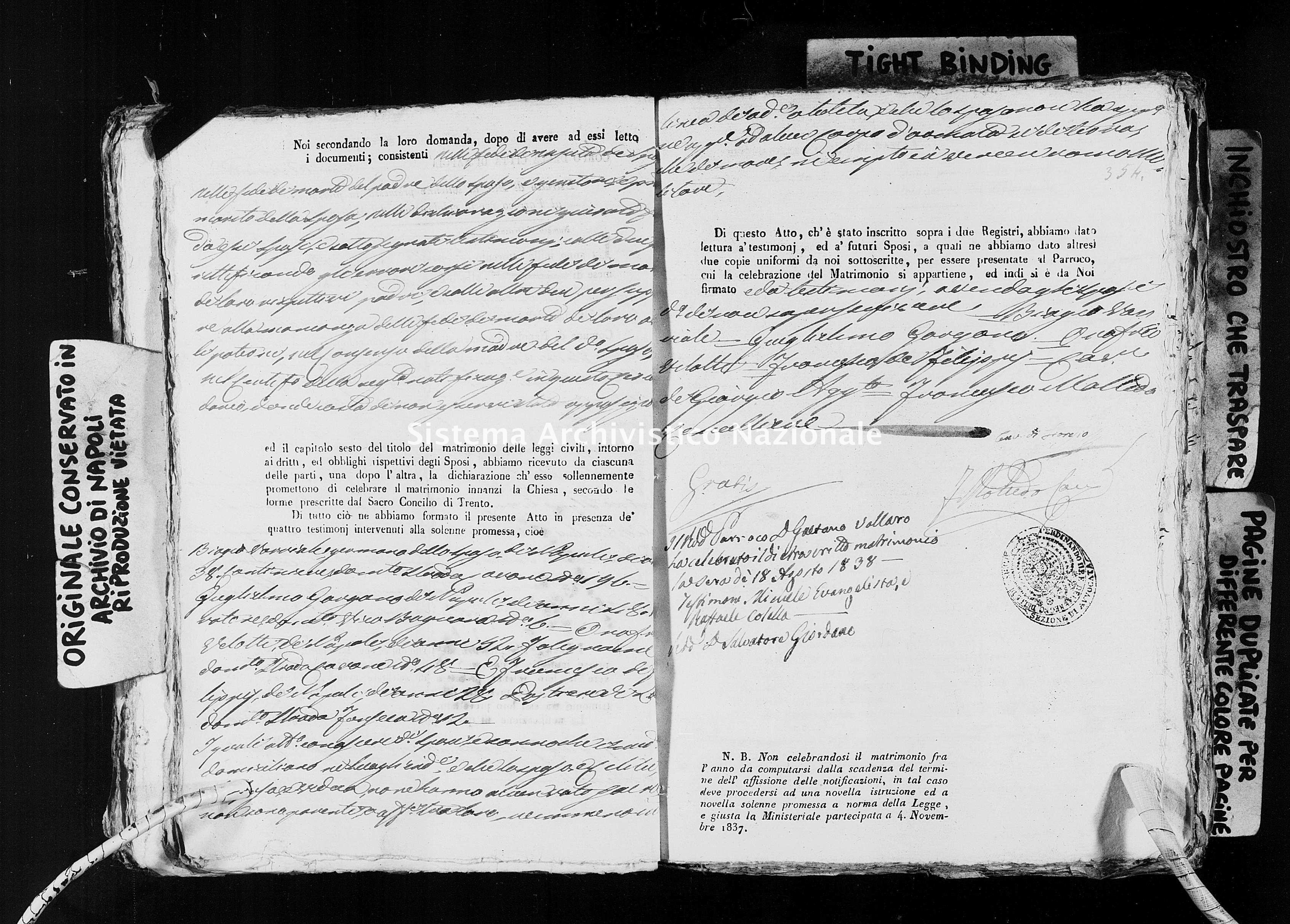 Archivio di stato di Napoli - Stato civile della restaurazione - Avvocata - Matrimoni, ecclesiastici - 1838 -