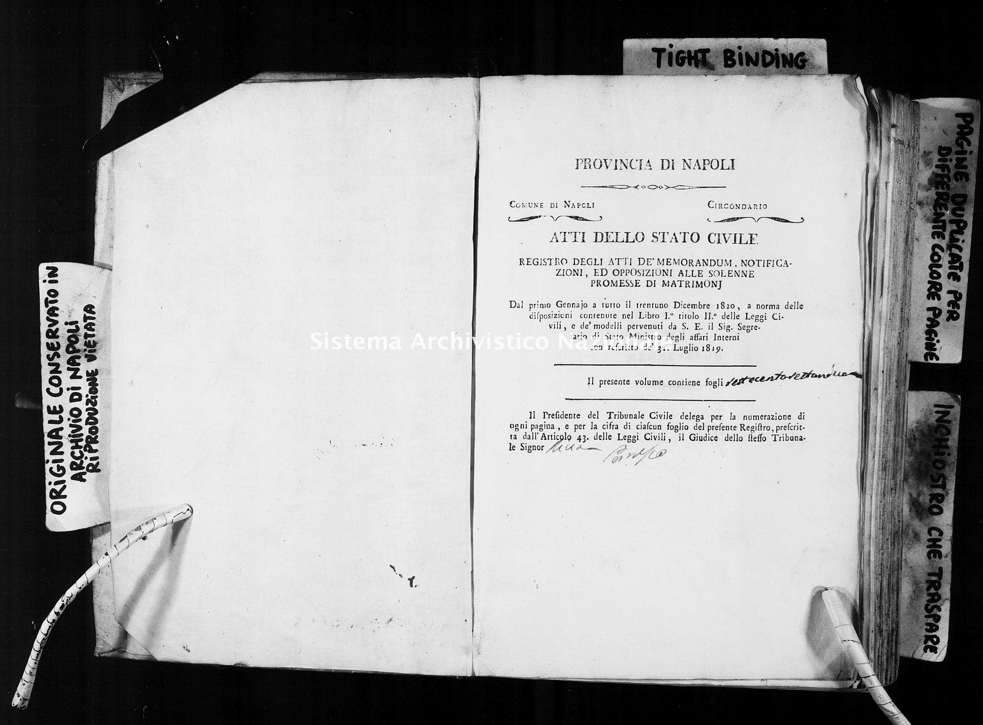 Archivio di stato di Napoli - Stato civile della restaurazione - Avvocata - Matrimoni, memorandum notificazioni ed opposizioni - 1820 -